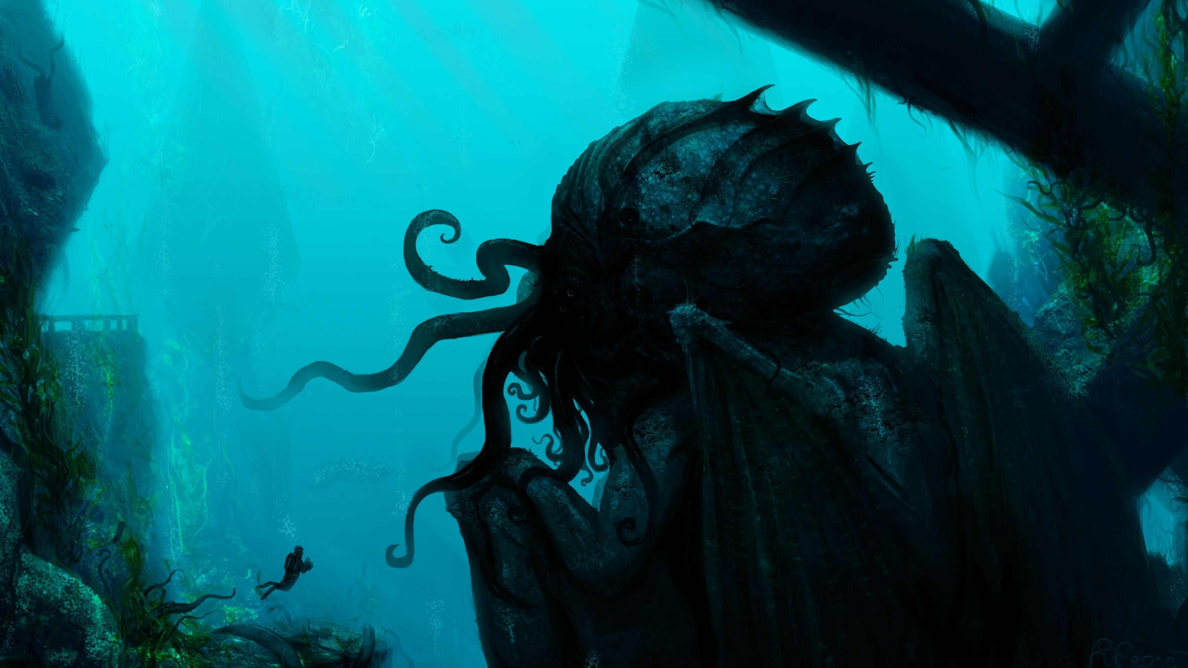 Fond D Ecran Sous Marin H P Lovecraft Cthulhu La Biologie Obscurite Capture D Ecran Biologie Marine Plongee Sous Marine 3840x2160 Liuchengfeng 164382 Fond D Ecran Wallhere