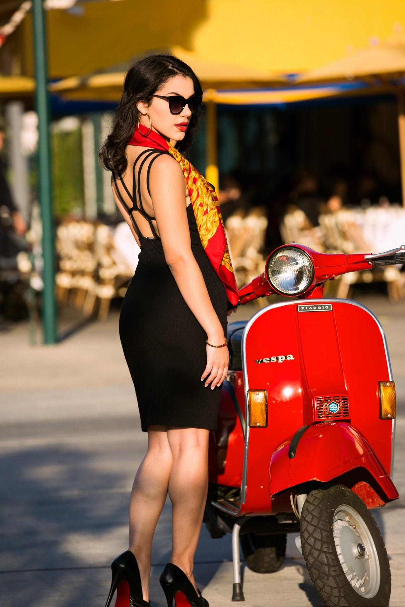 wallpaper : valentina napi, vespa, scooty, model, black dress, black