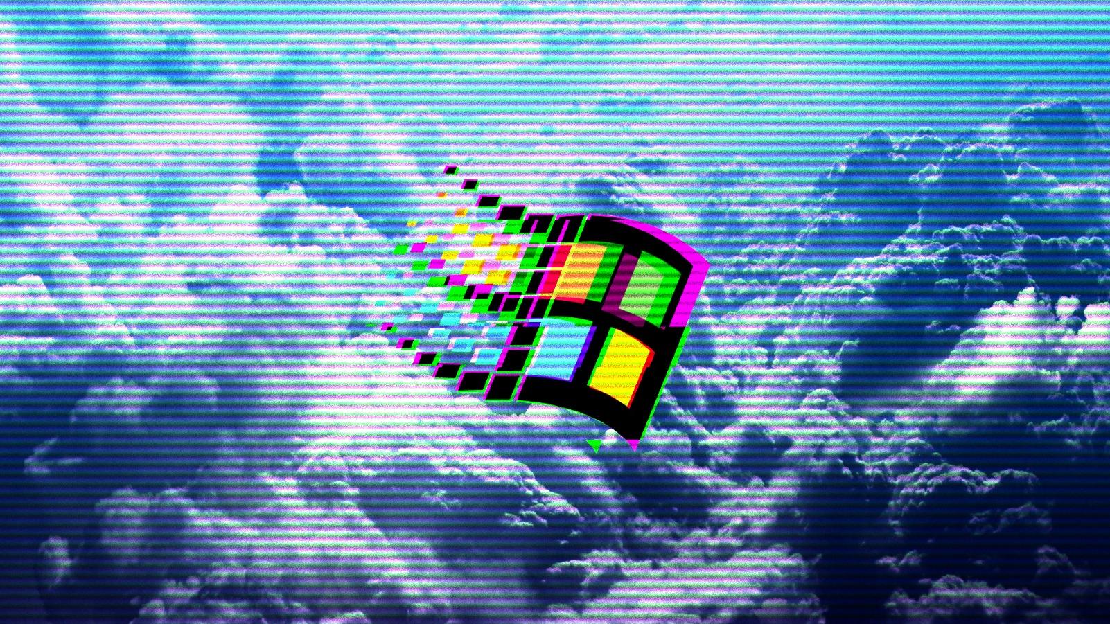 Wallpaper Vaporwave 1990s Windows 95 Windows 98 Clouds
