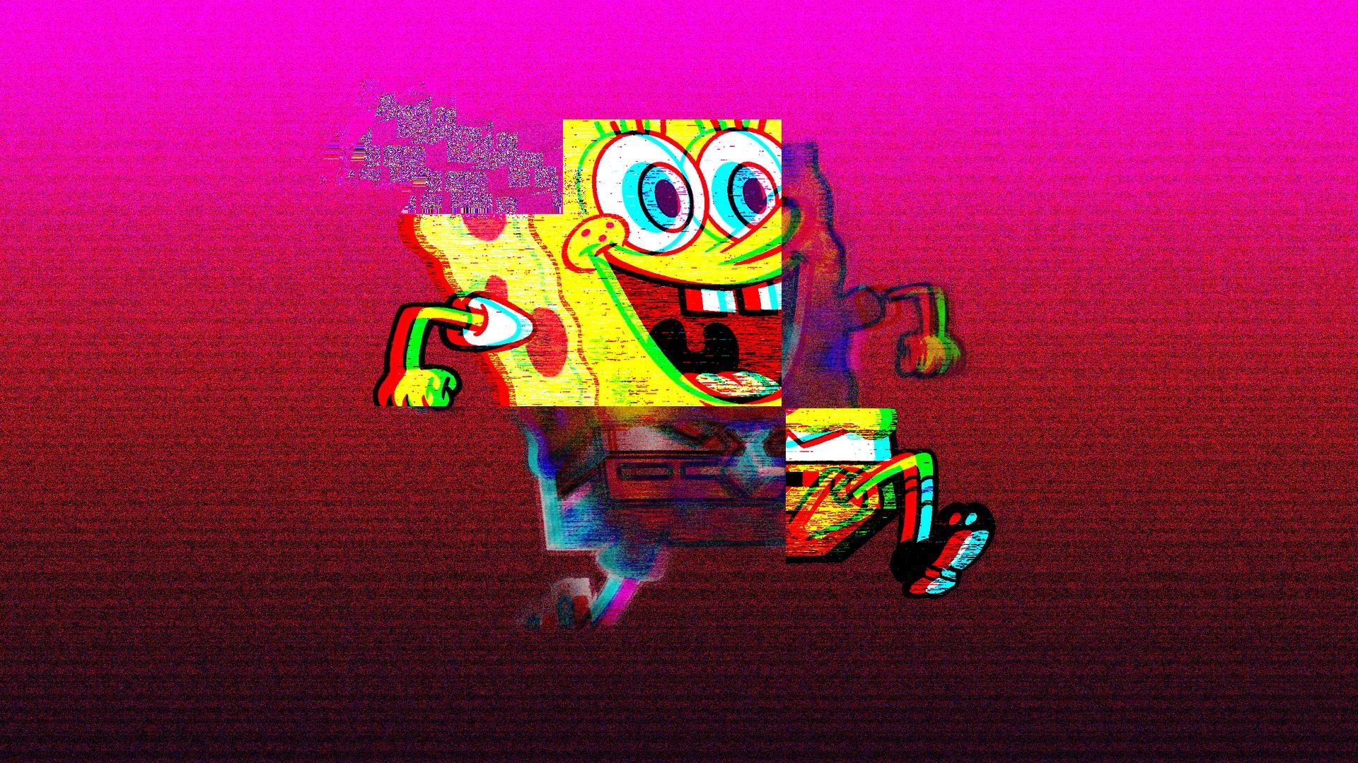 wallpaper vaporwave spongebob vhs run squarepants 1920x1080