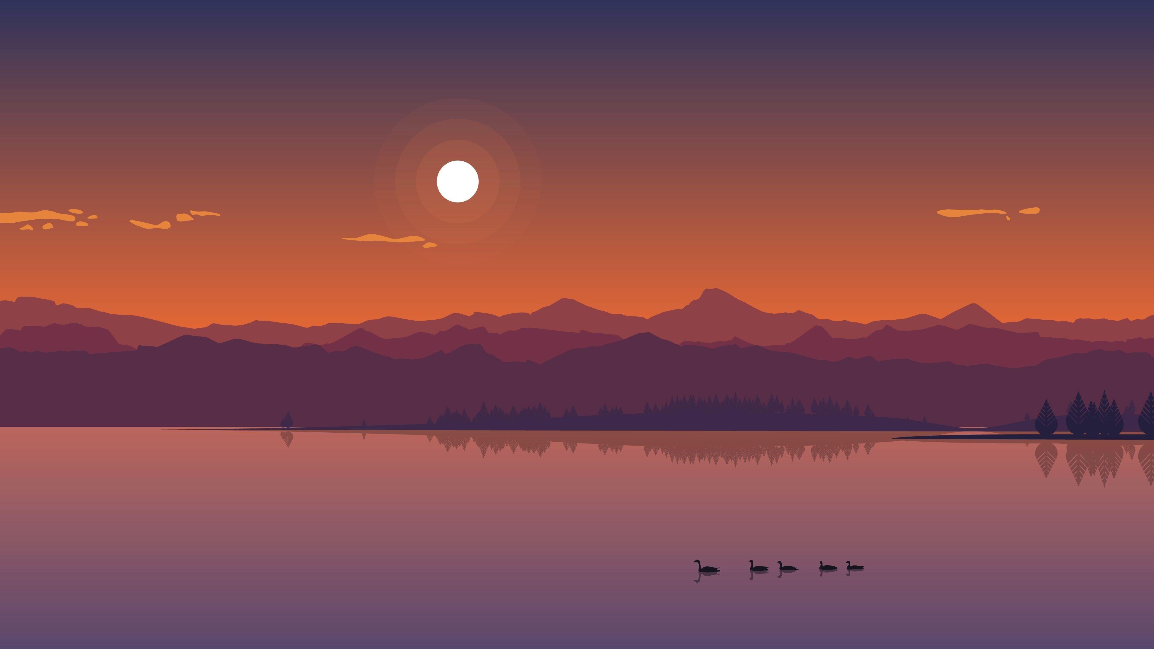 Wallpaper Vector Lake Duck Mountains Clouds Sun Digital