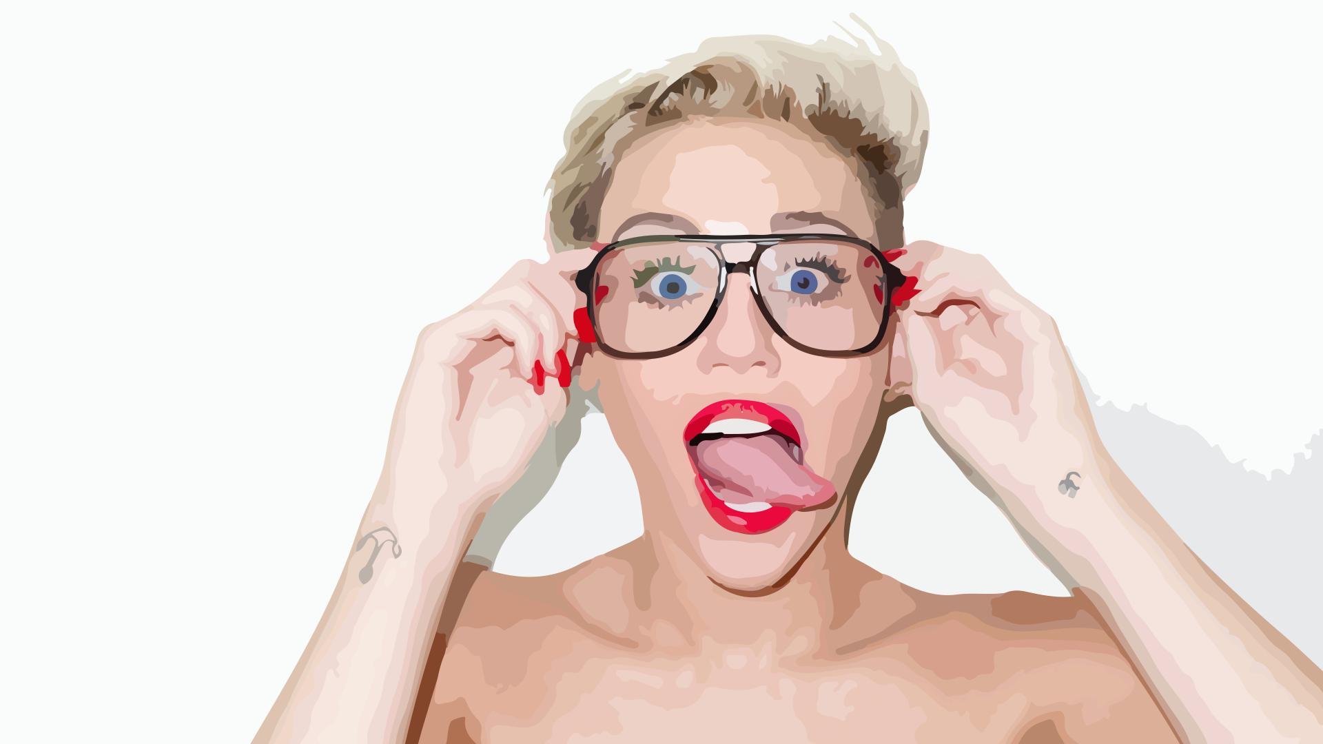 Wallpaper Vector Art Miley Cyrus Lips Tongues Women