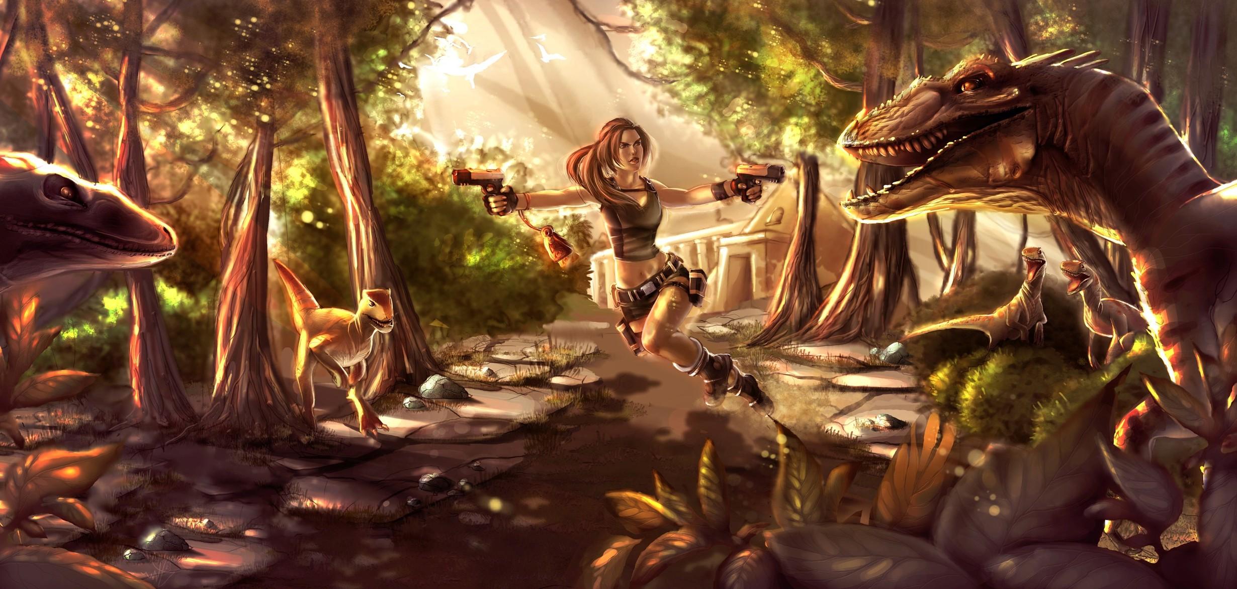 Fond d'écran : jeux vidéo, ouvrages d'art, dragon, jungle, Lara Croft, Tomb Raider, mythologie ...