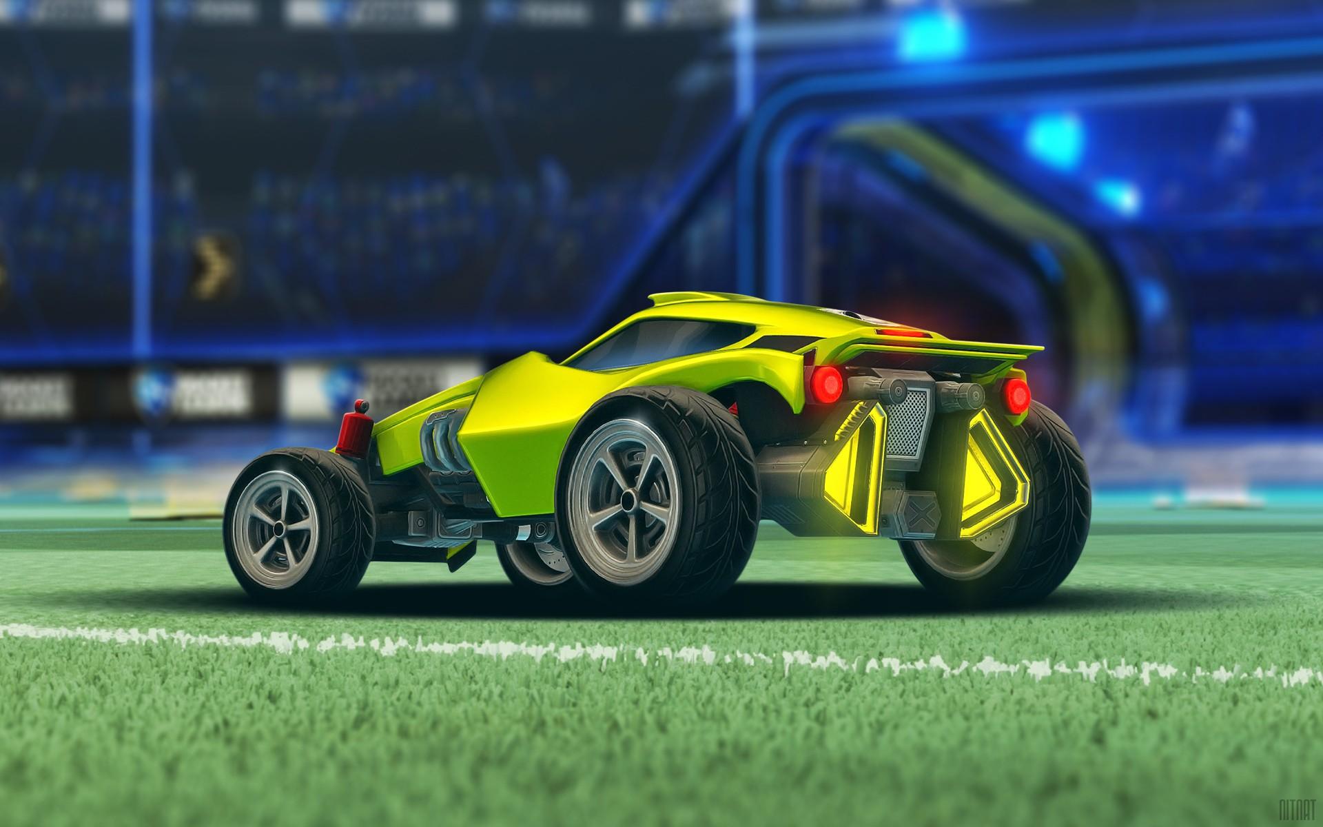 Wallpaper : video games, render, yellow, sports car, Rocket League ...