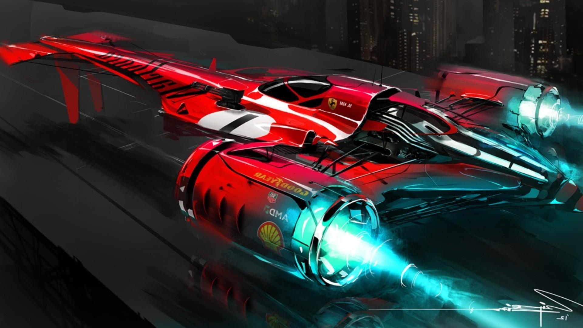 Video Games Car Vehicle Concept Art Sports Car Ferrari Racing Wipeout  Supercar Screenshot 1920x1080 Px Computer