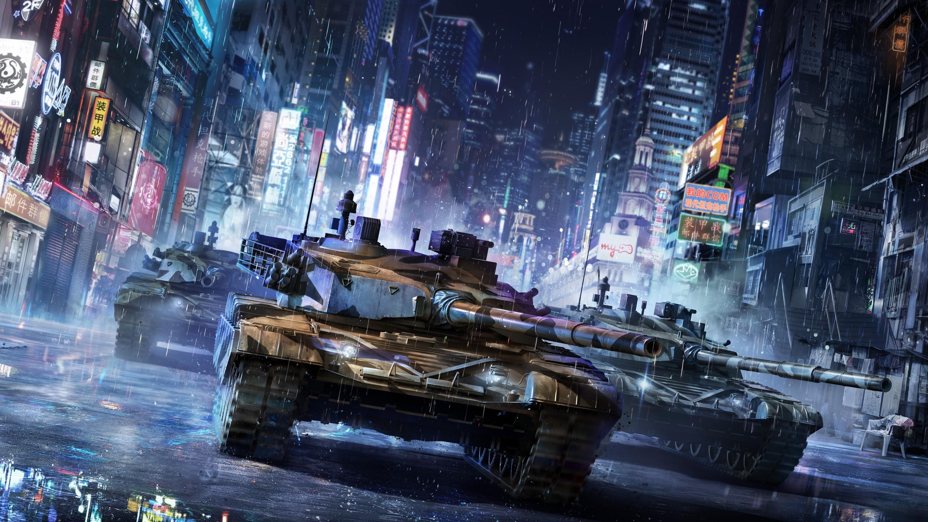 デスクトップ壁紙 ビデオゲーム シティ 夜 アジア 雨 タンク
