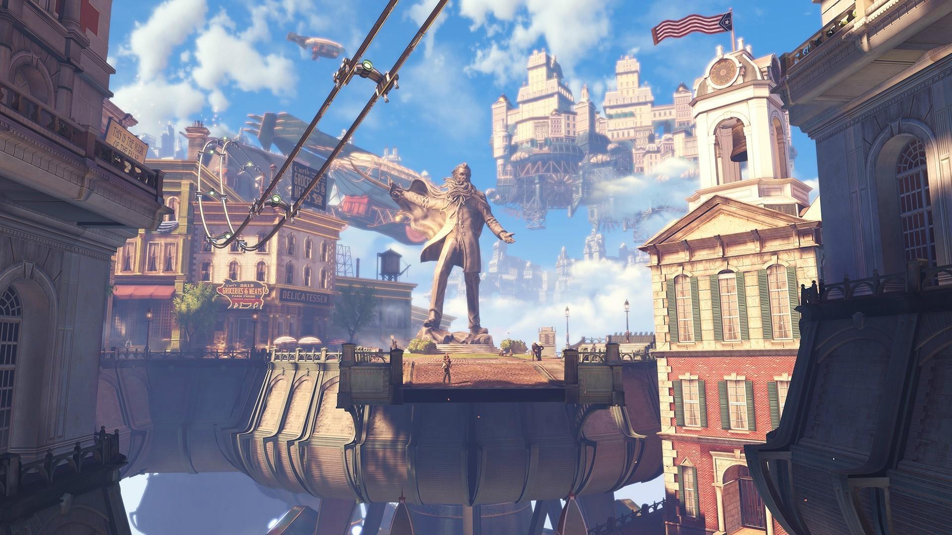 Video Games City Street Cityscape Tourism Evening Town BioShock Infinite Cathedral Travel Landmark Urban Area