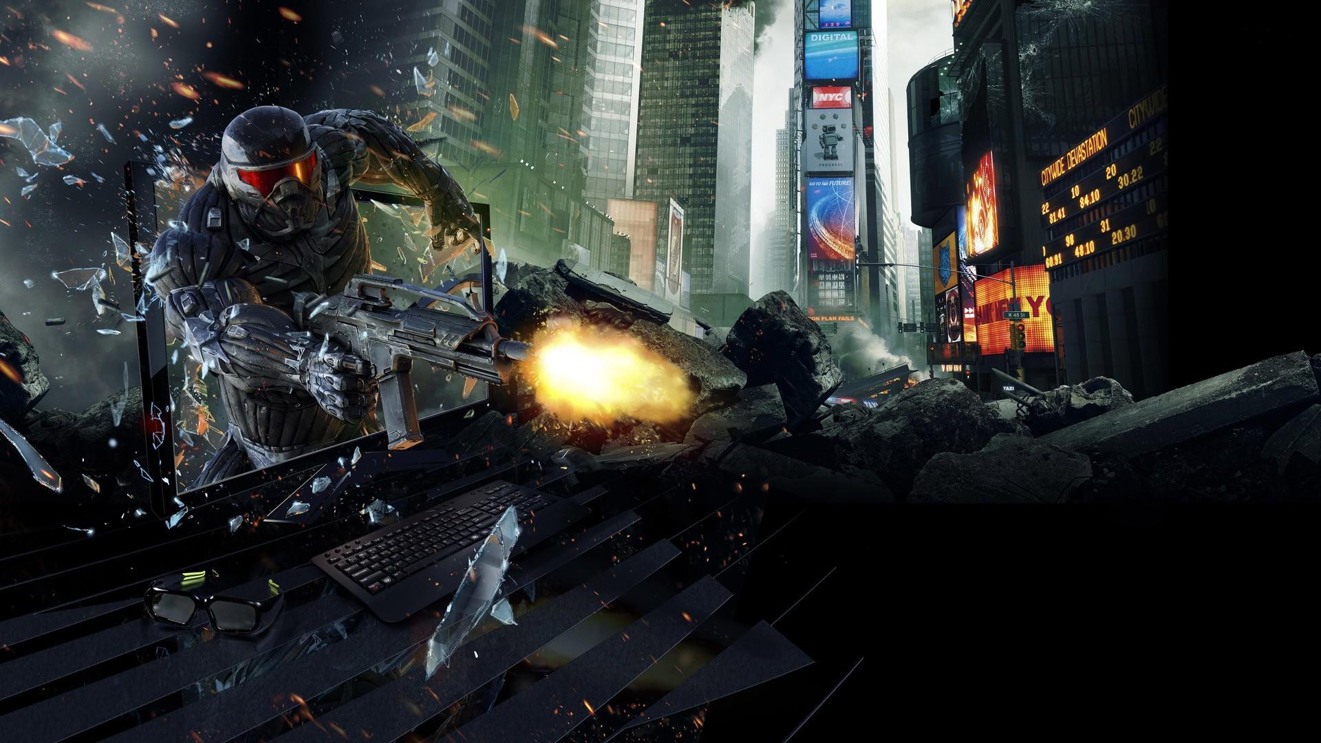 Oboi Video Igry Crysis 2 Temnota Skrinshot Oboi Dlya Rabochego