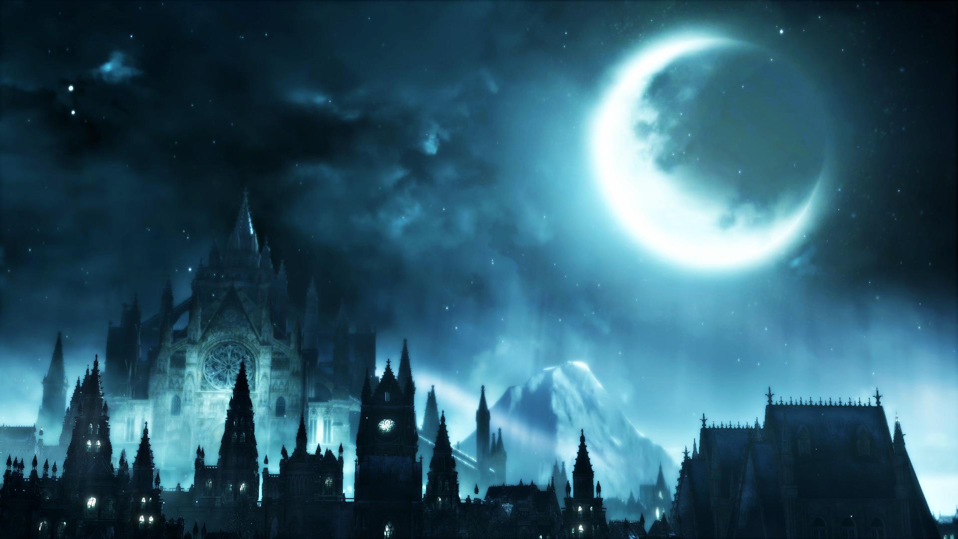 картинки фэнтези ночь луна замок только