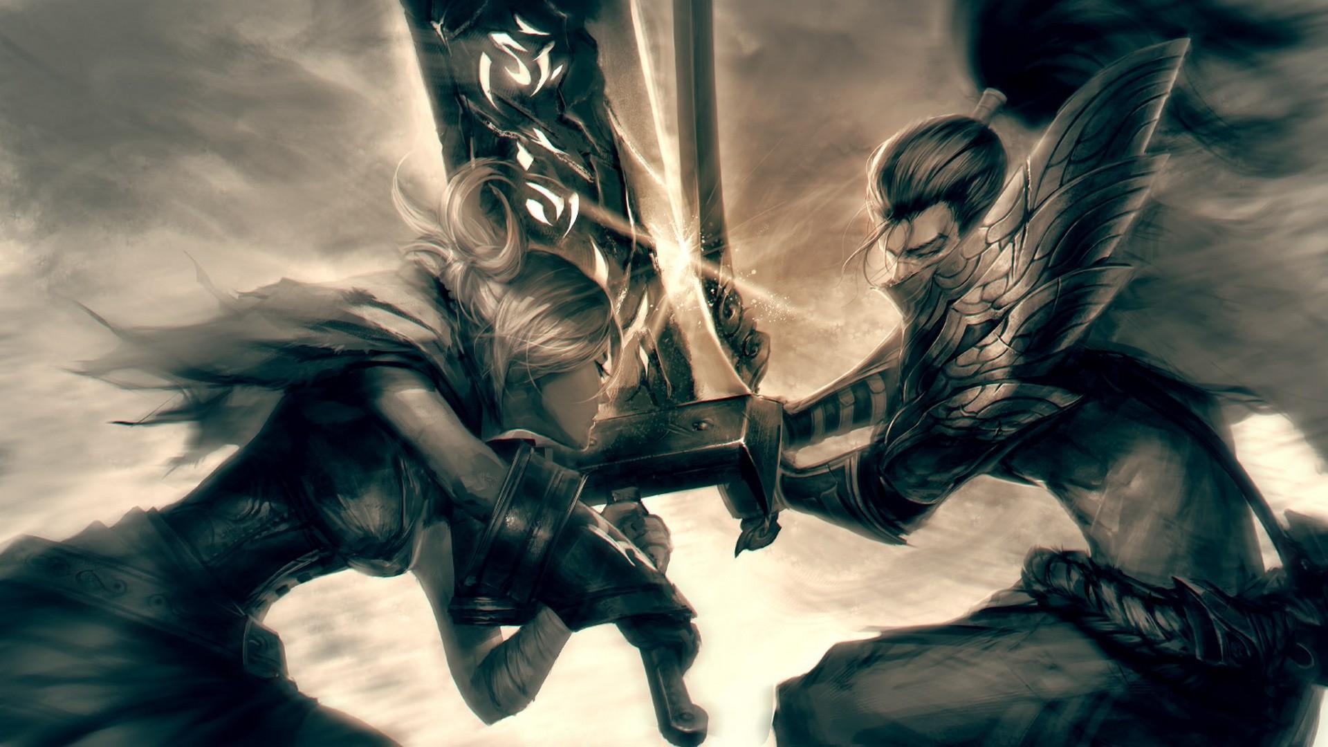 Video Games Fantasy Art Anime Battle League Of Legends Artwork Sword Riven Mythology Fictional Yasuo