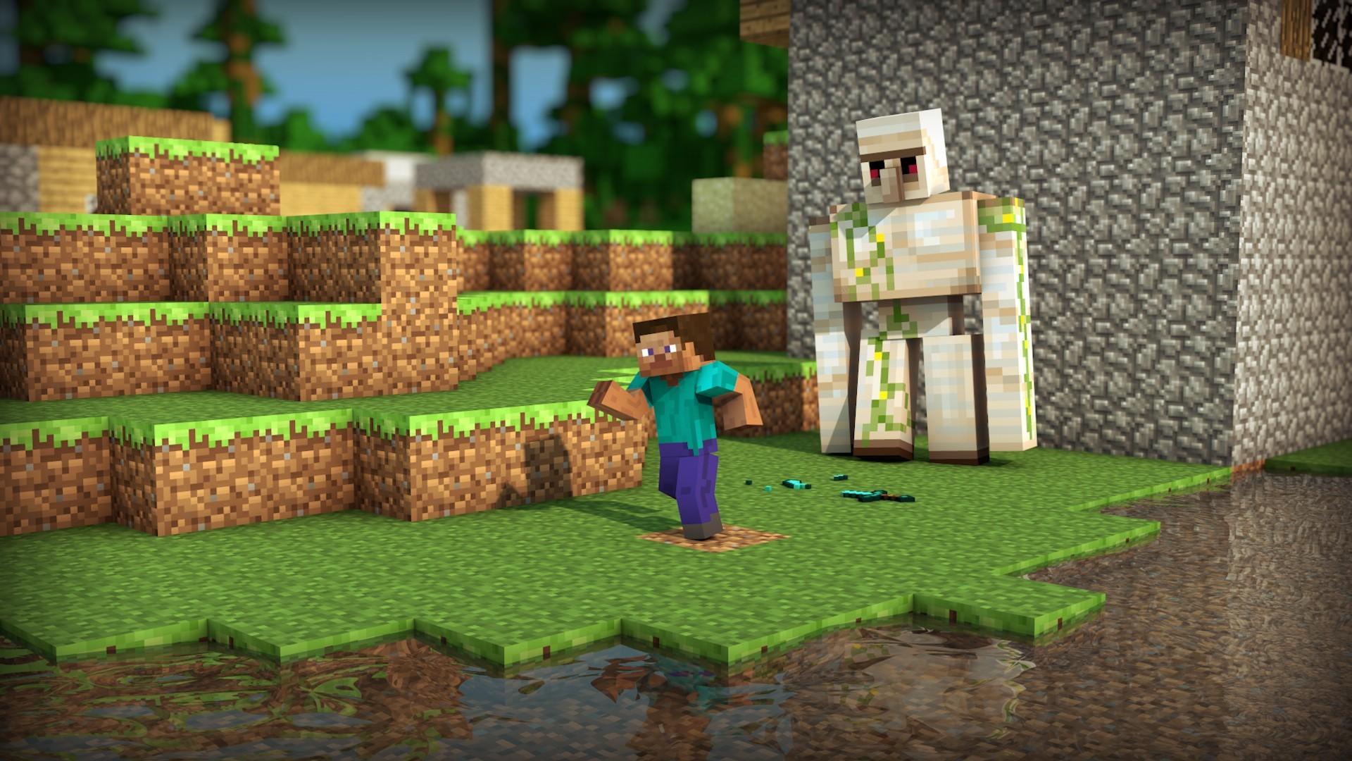 wallpaper video games grass minecraft farm steve jungle