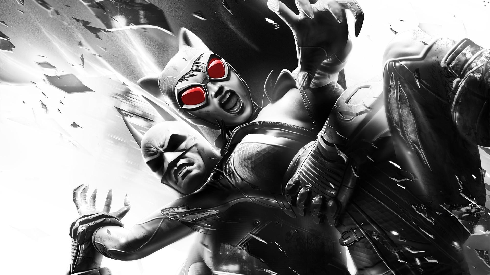 Video Games Monochrome Batman Arkham City Catwoman Joker Harley Quinn Comics Clothing The Riddler Rocksteady