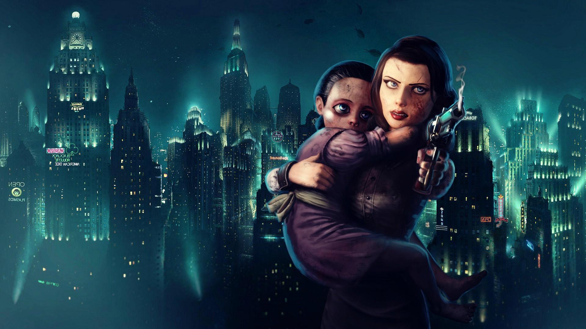 video games night BioShock Elizabeth BioShock BioShock Infinite Rapture midnight Little Sister stage darkness screenshot 1920x1080