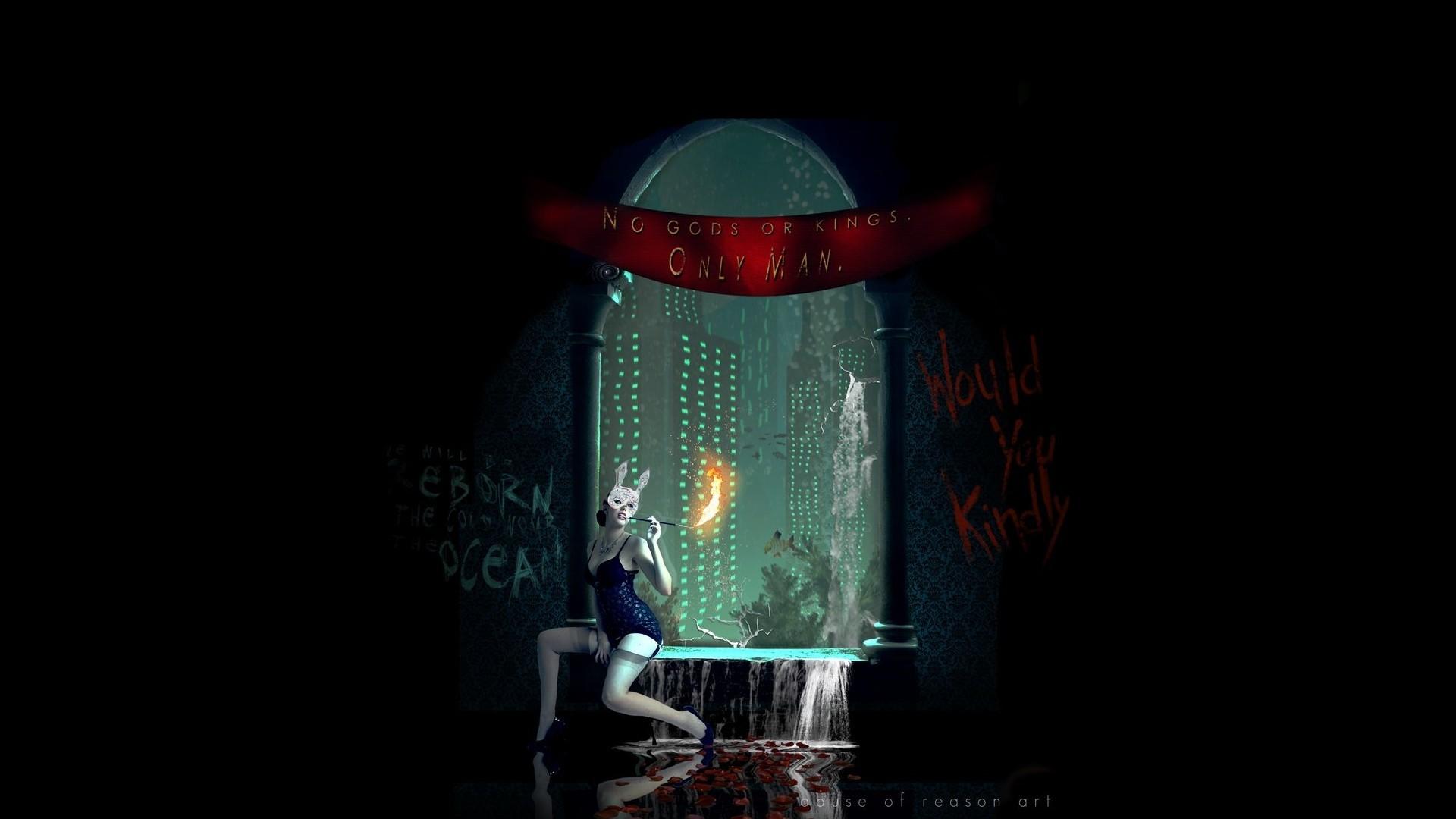 Wallpaper Video Games Night Red Lantern Bioshock