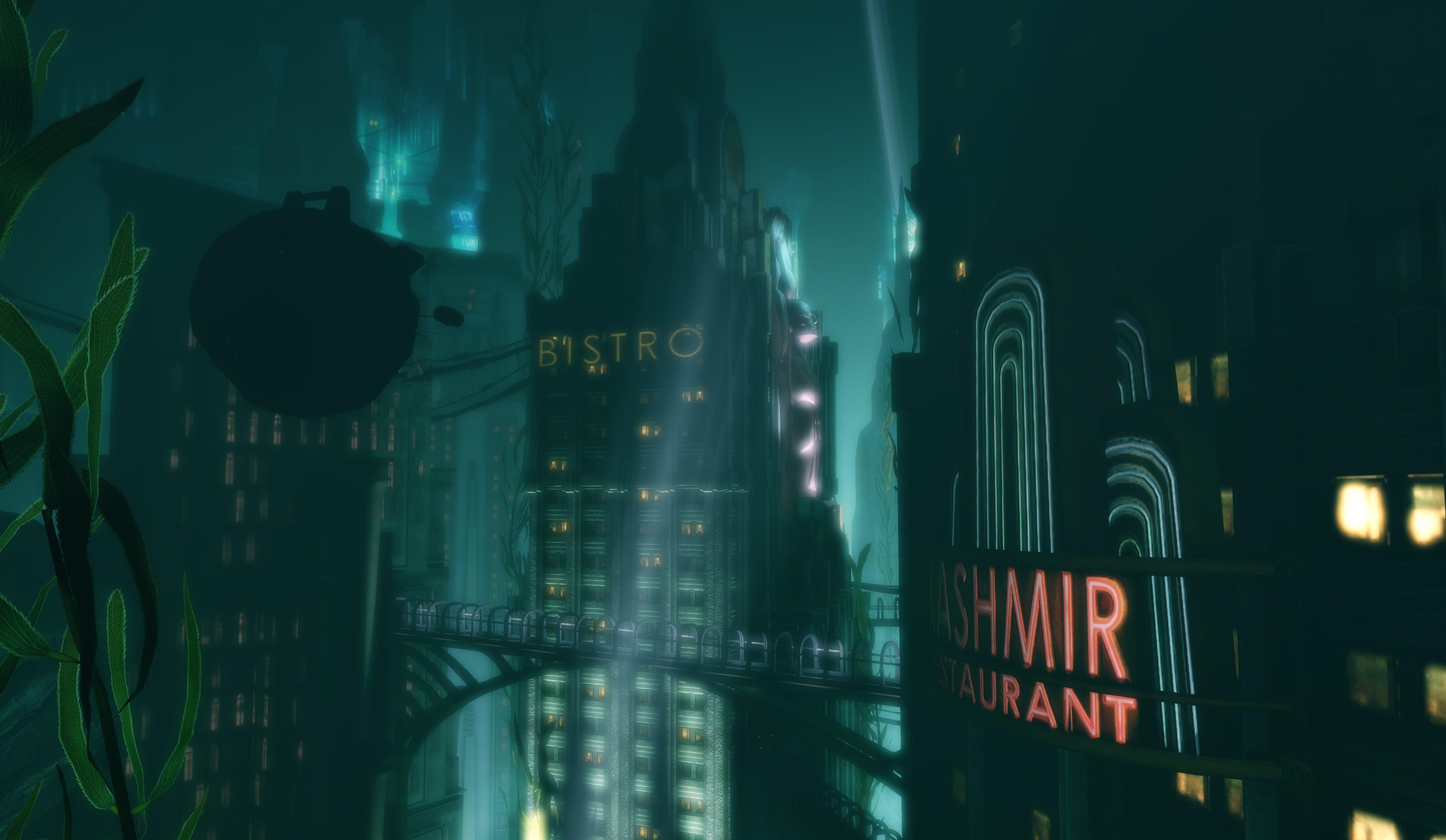 video games night reflection underwater screen shot BioShock submarine Rapture light darkness screenshot computer wallpaper special effects 36722