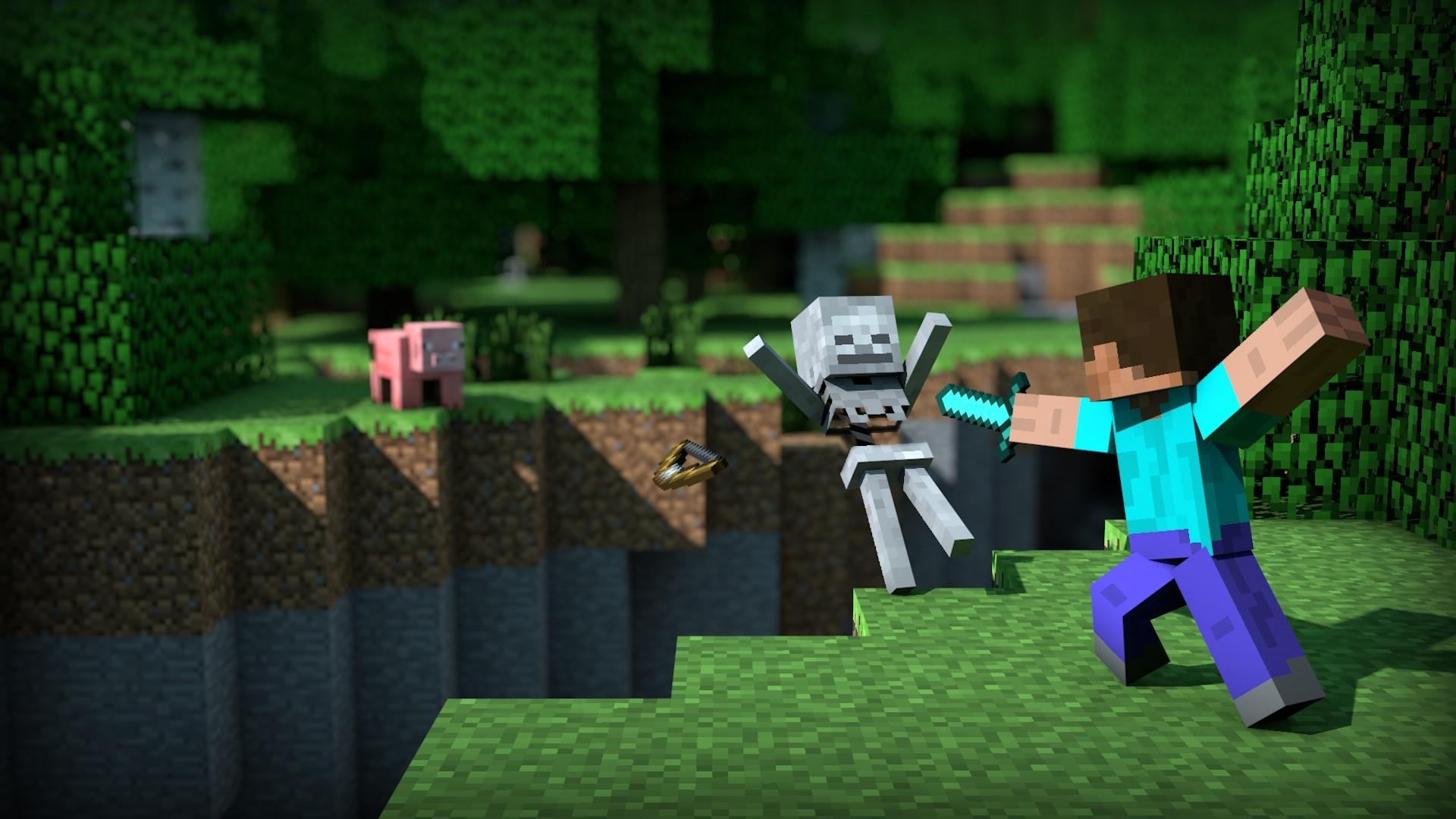 Hintergrundbilder Videospiele Schweine Minecraft Grün Steve - Minecraft spielen original