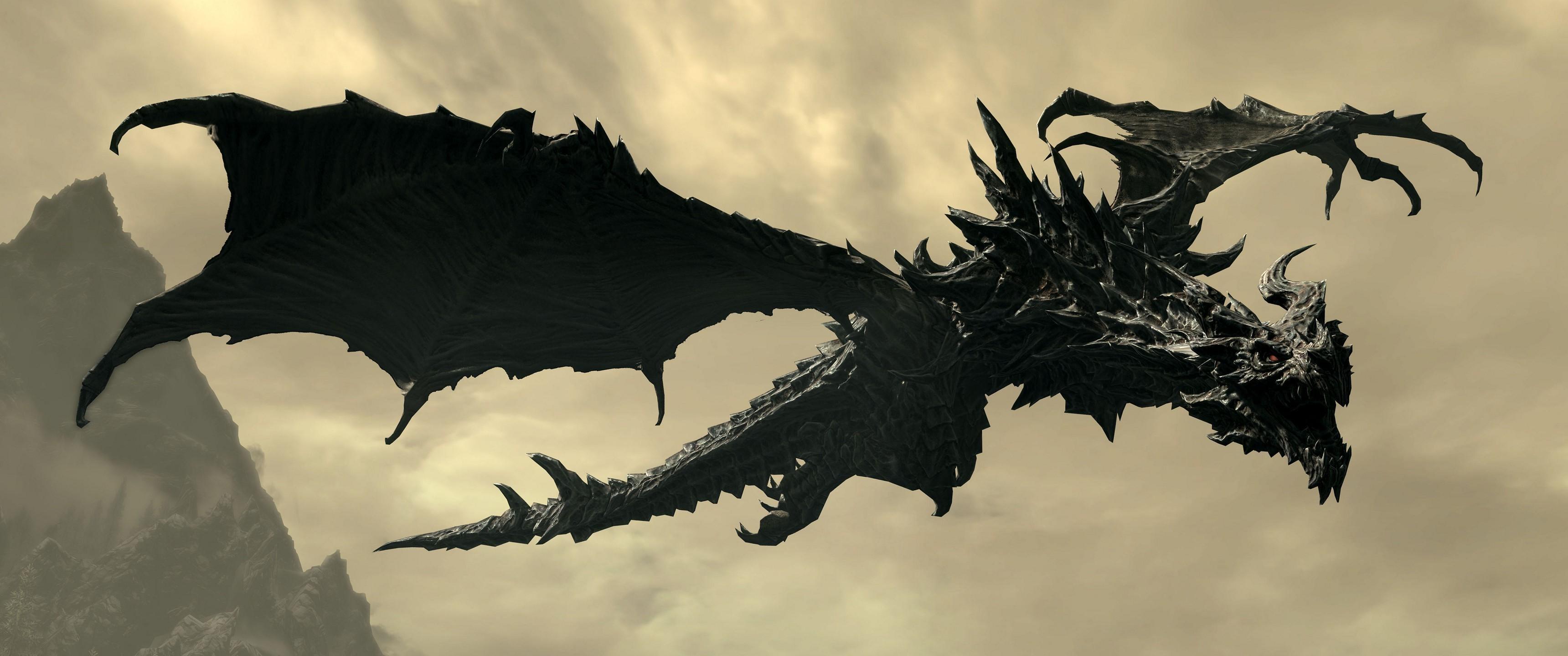 Video Games Raven Dragon The Elder Scrolls V Skyrim Alduin Leaf Wing 3440x1440 Px