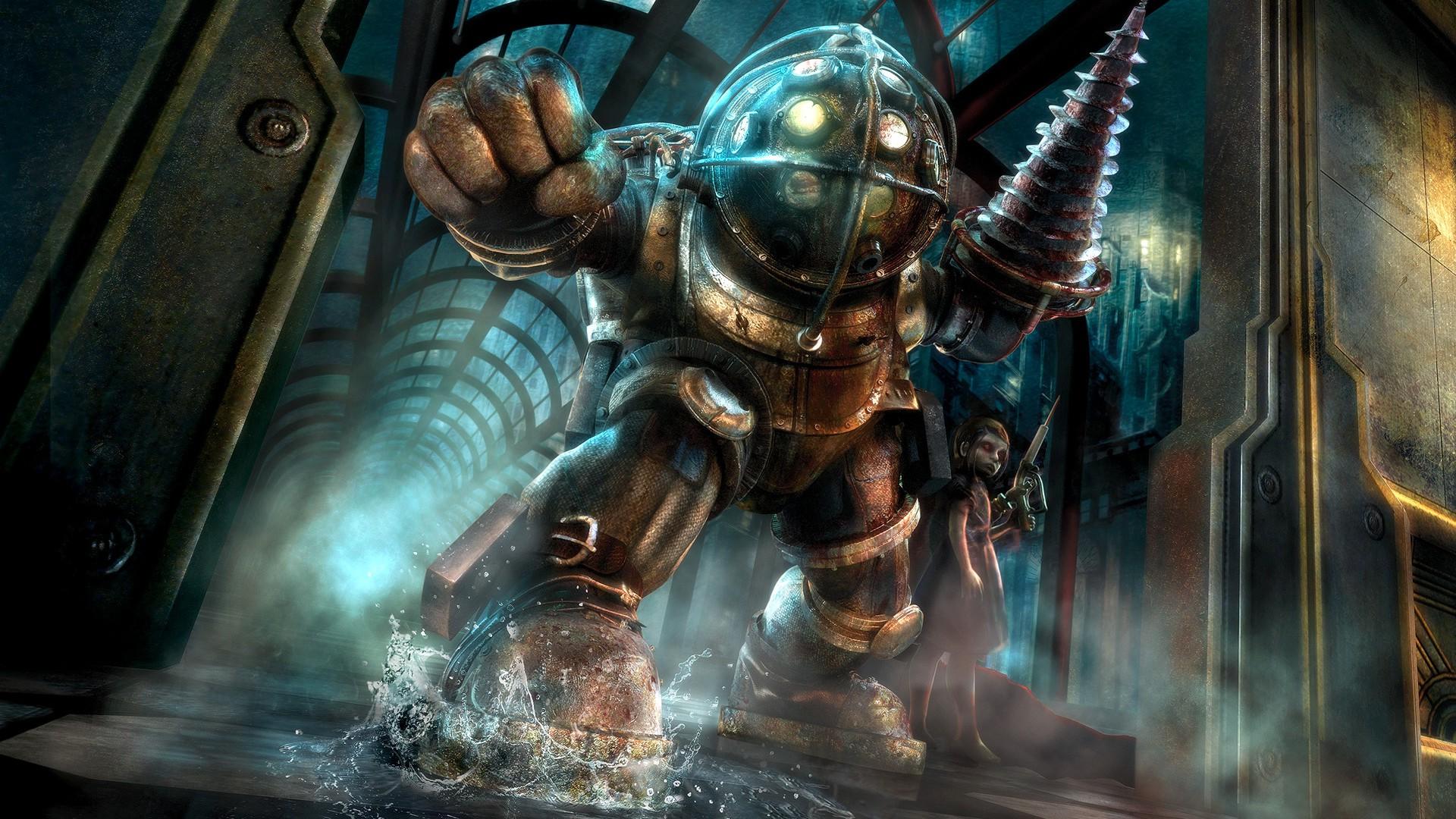 video games sea Big Daddy BioShock Rapture mythology Little Sister screenshot 1920x1080 px computer wallpaper pc game 715348