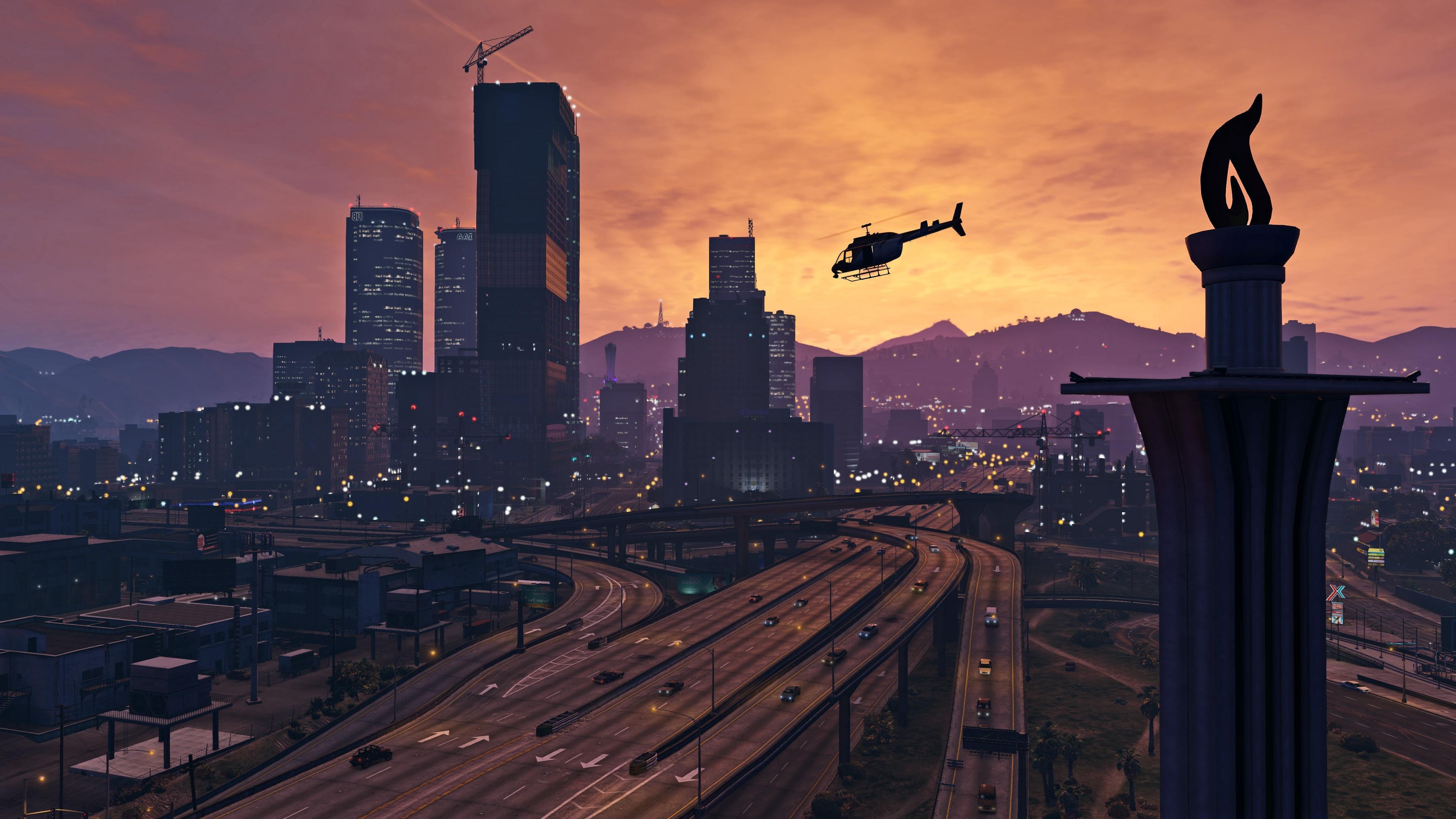 Wallpaper Video Games Sunset City Cityscape Night Sky Sunrise Skyline Skyscraper Evening Morning Tower Horizon Grand Theft Auto V PC Gaming