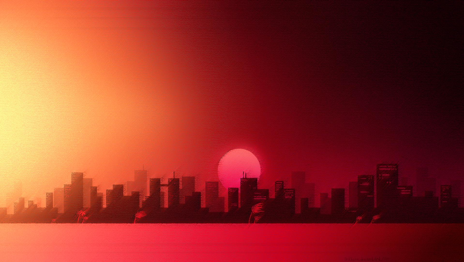 wallpaper video games sunset city cityscape sky. Black Bedroom Furniture Sets. Home Design Ideas