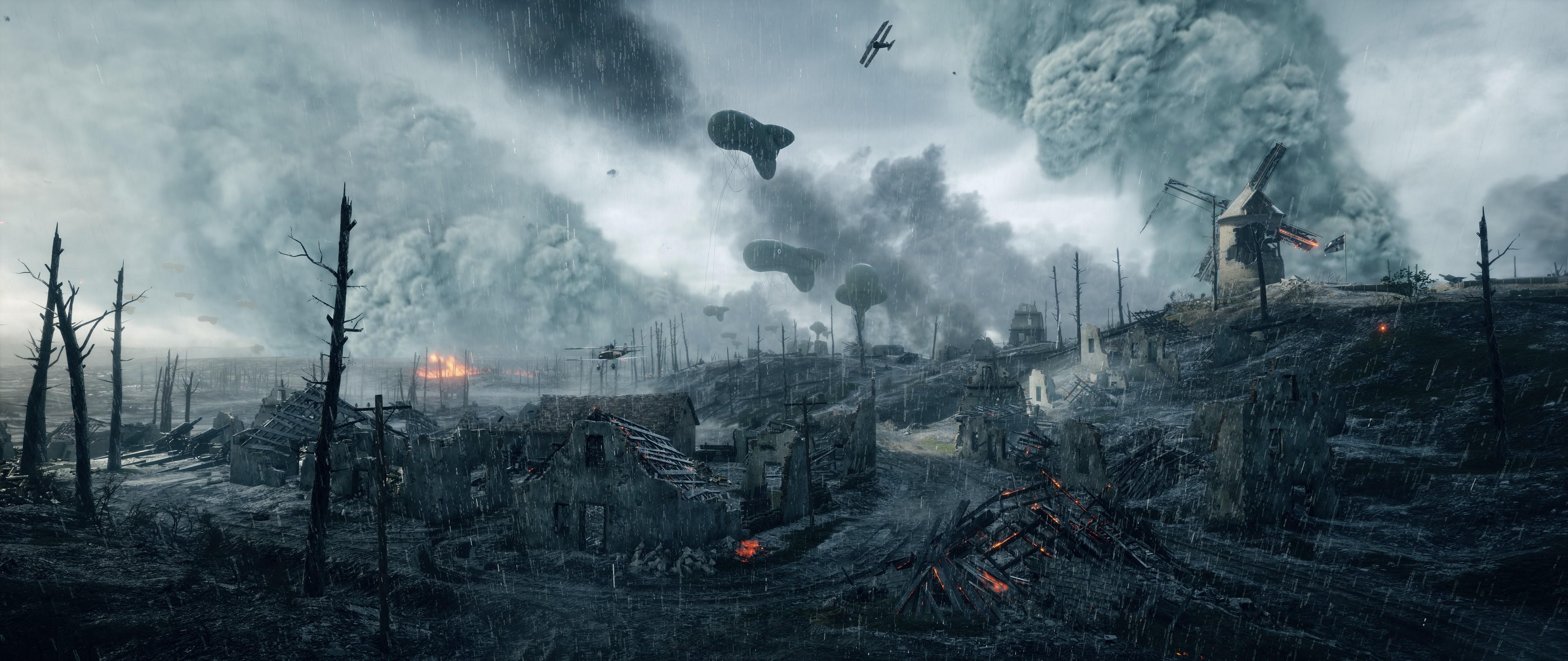 Video Games War Soldier Fire World I Battlefield 1 EA DICE Wildfire Screenshot 3840x1620 Px