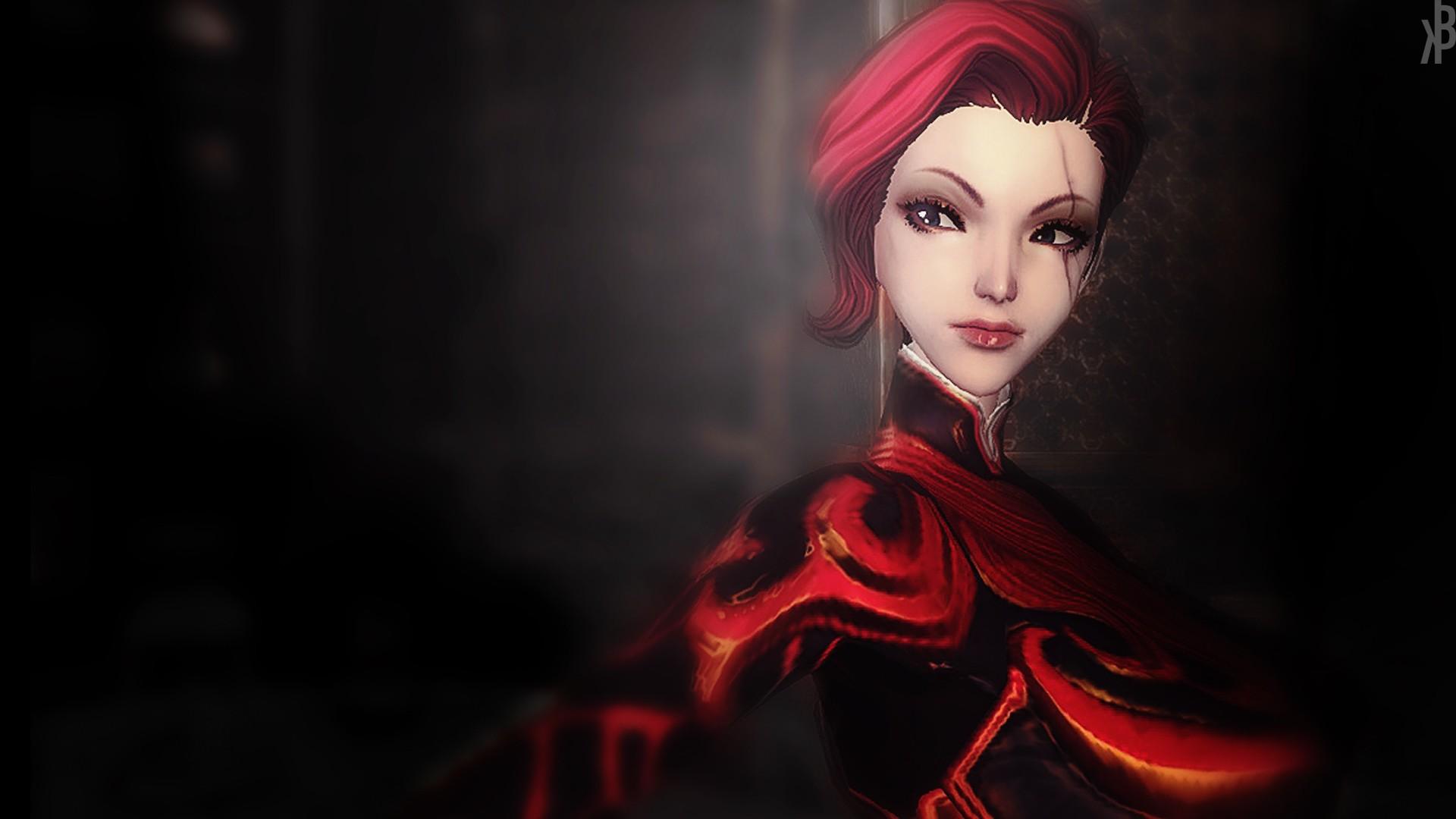 デスクトップ壁紙 ビデオゲーム 女性 赤 黒髪 人形 ブレード