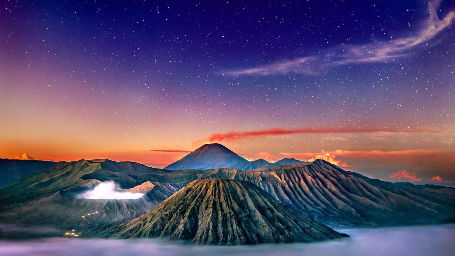 Wallpaper Volcano Stars Landscape Mount Bromo Indonesia 1920x1080 Wallsp 1469591 Hd Wallpapers Wallhere