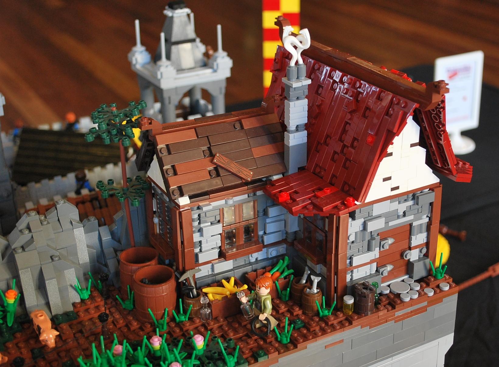 Wallpaper Water Rock Wall Bricks House Lego Castle River