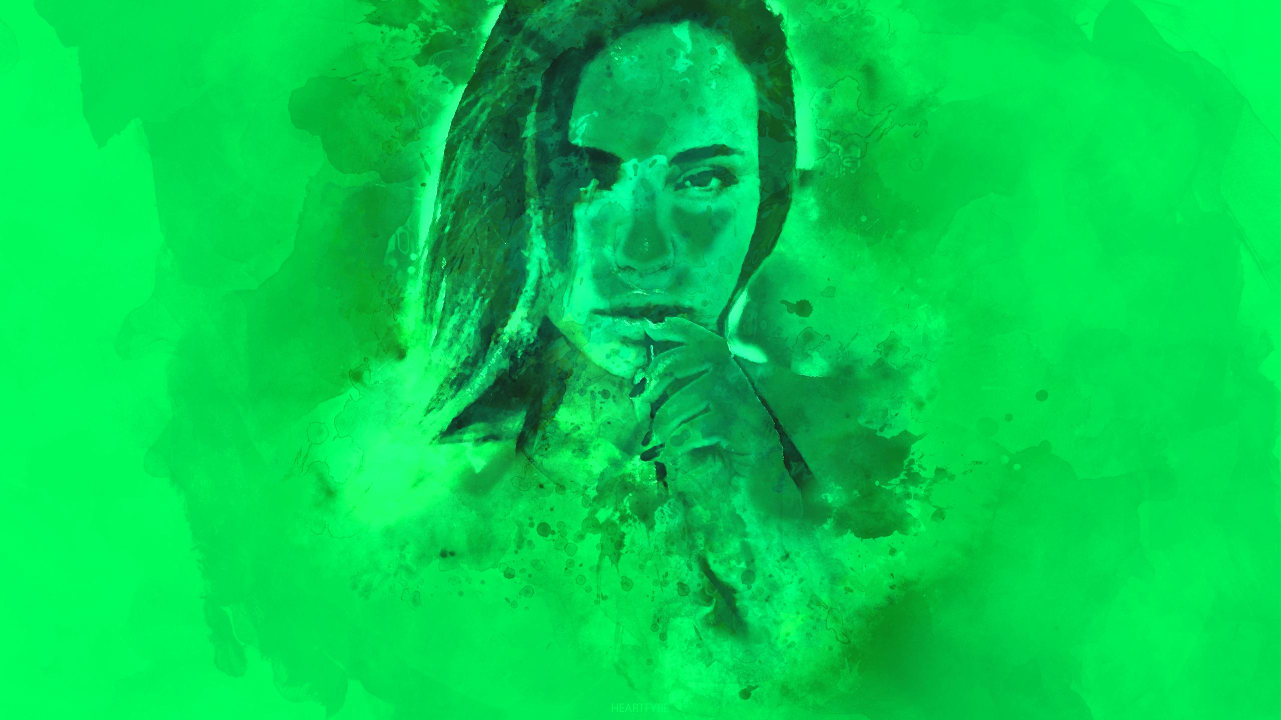 Masaüstü Suluboya Portre Yeşil Yeşil Arka Plan 2560x1440