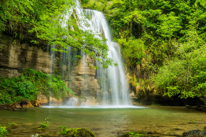 Wallpaper Waterfall River Rocks Trees Water Landscape