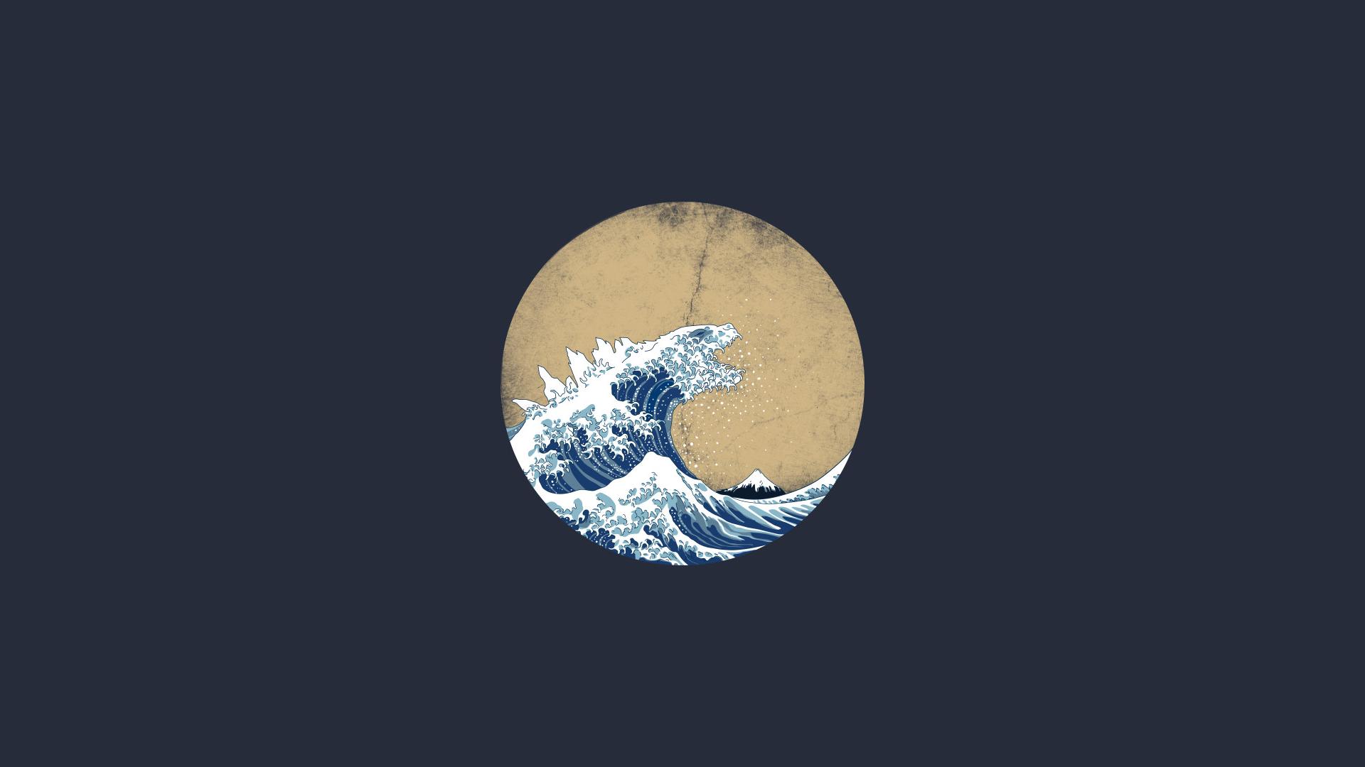 Wallpaper Waves Godzilla Digital Art Artwork