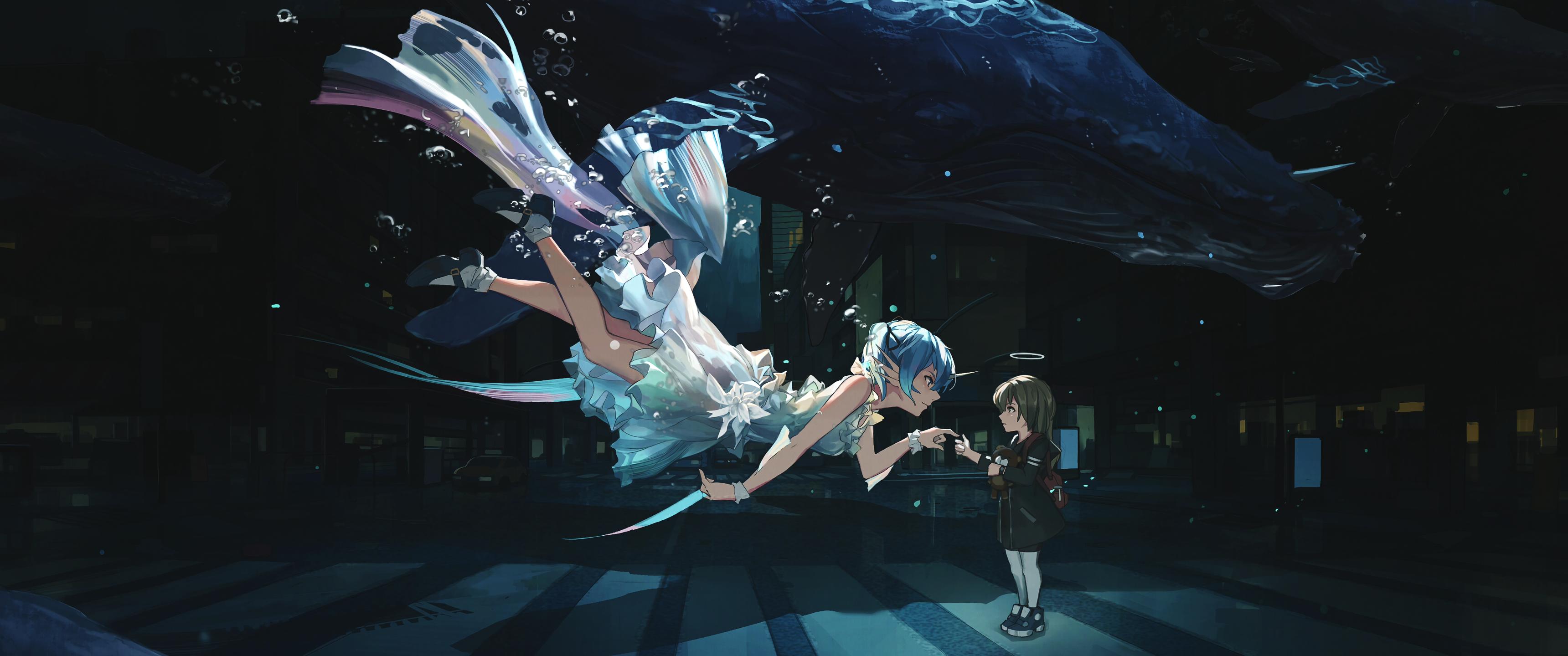 Wallpaper Ultrawide City Anime Girls Hatsune Miku Underwater