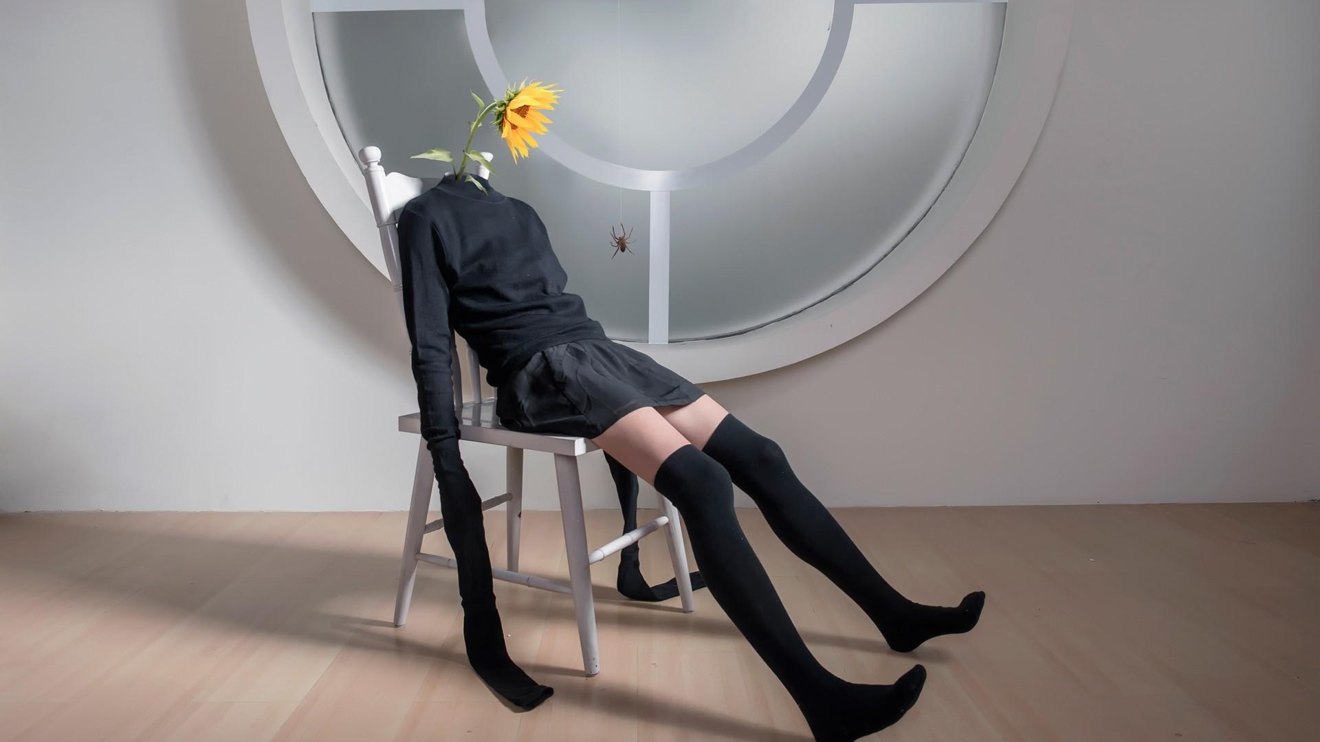 Fondos De Pantalla Blanco Negro Arte Digital Photoshop Mujer  # Muebles Rodilla