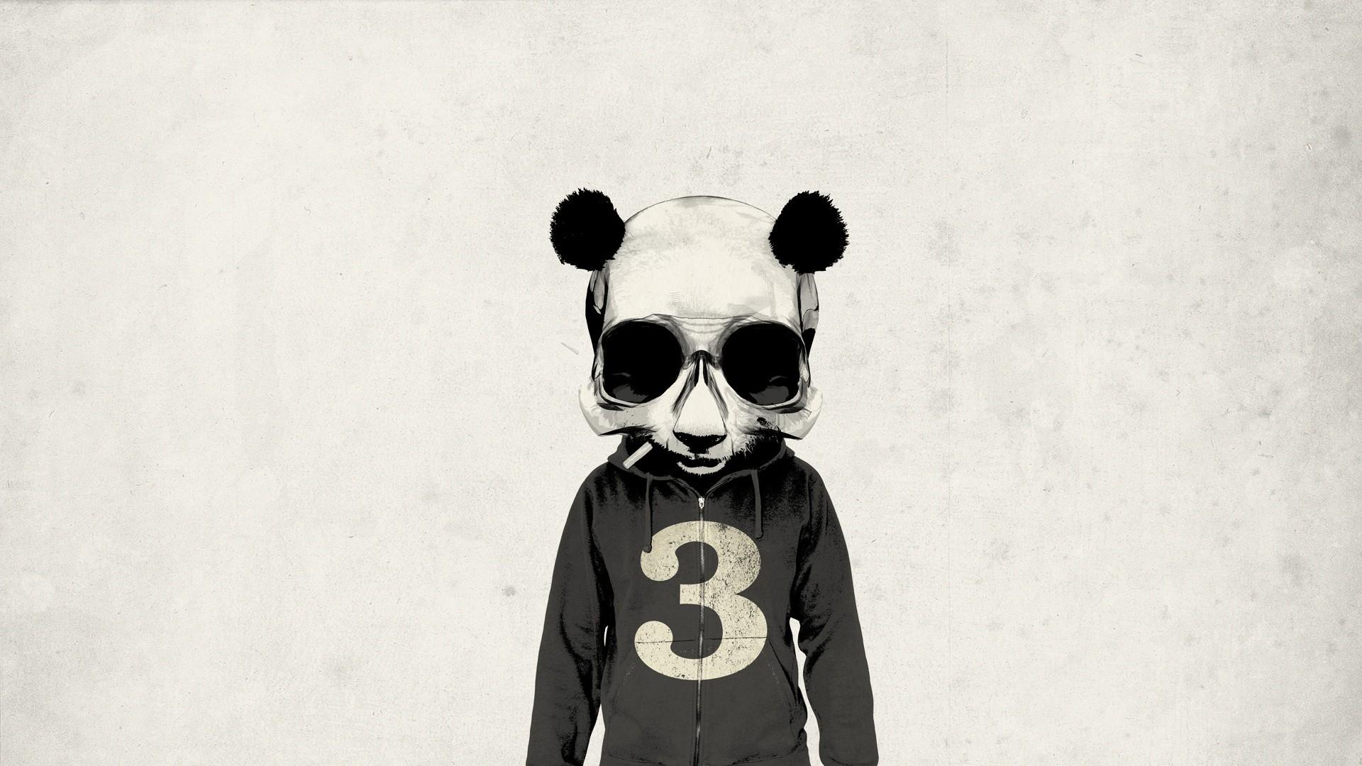 White Black Illustration Monochrome Artwork Jacket Moustache Skull Panda ART Image