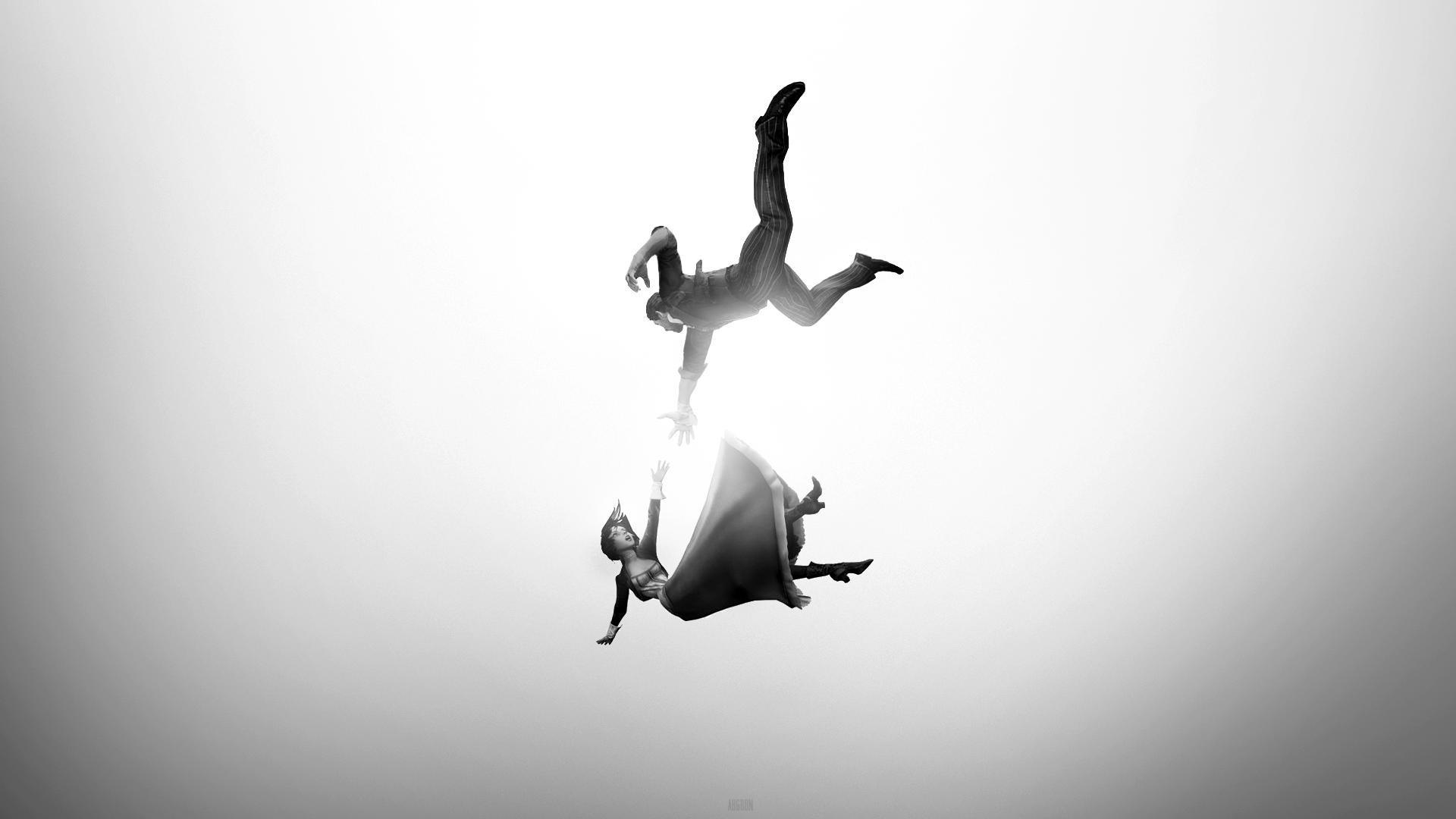 wallpaper jumping silhouette falling bioshock infinite