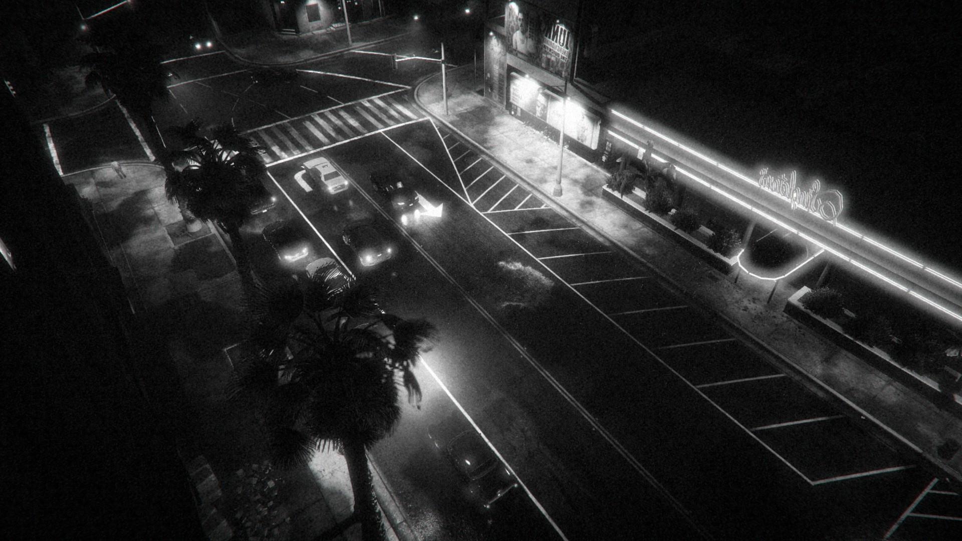White black monochrome night vehicle grand theft auto v pc gaming rockstar games light lighting shape