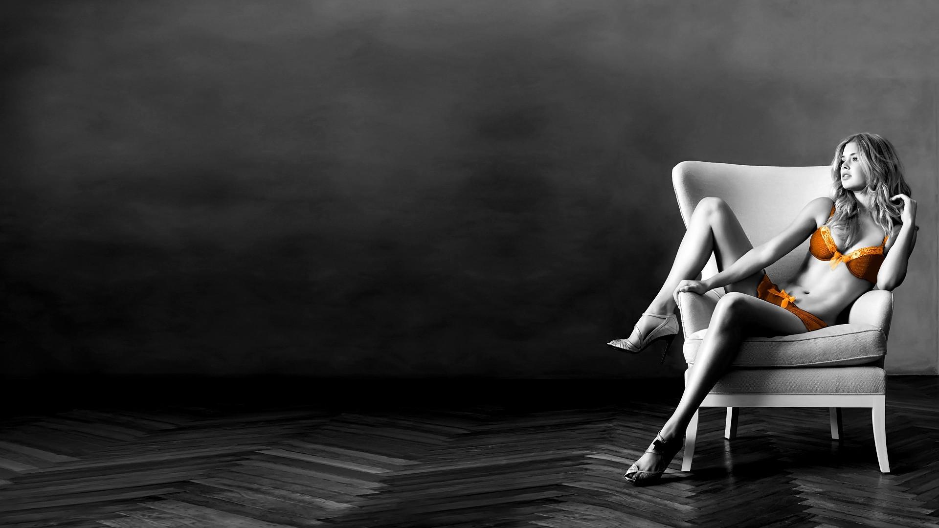 デスクトップ壁紙 女性 モデル 座っている 選択着色 光 闇