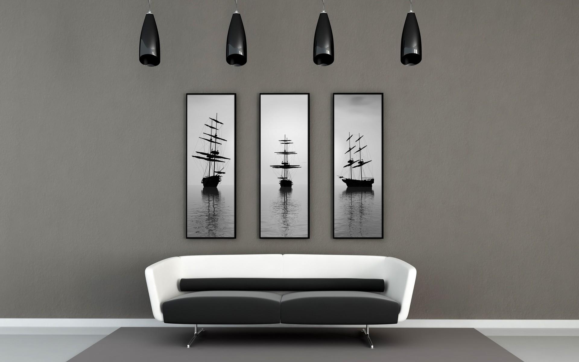 Fond D Cran Blanc Bateau Voile Chambre Mur Canap  # Design Meuble Moderne Sur Fond Blanc