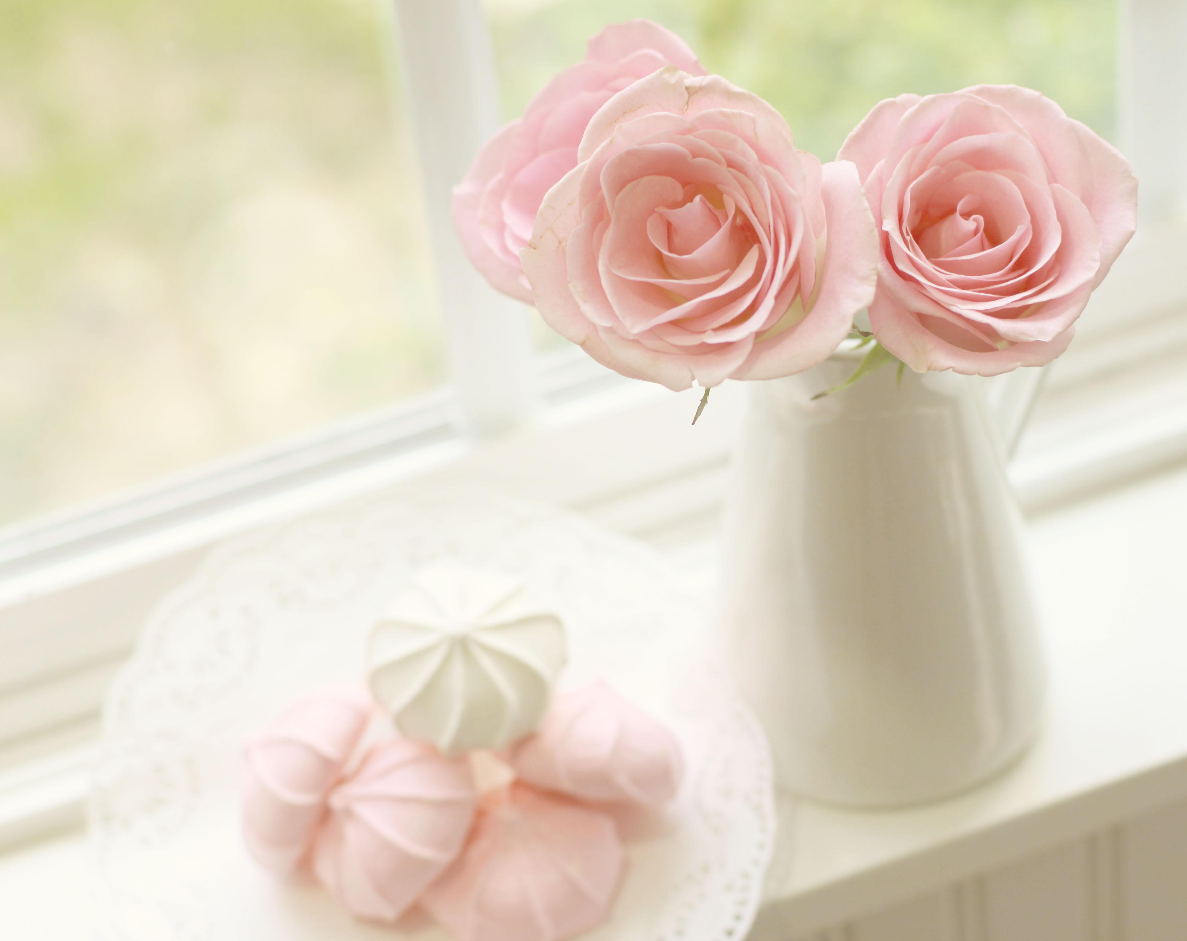 Wallpaper White Window Whipped Cream Peach Cream Pastel Pink