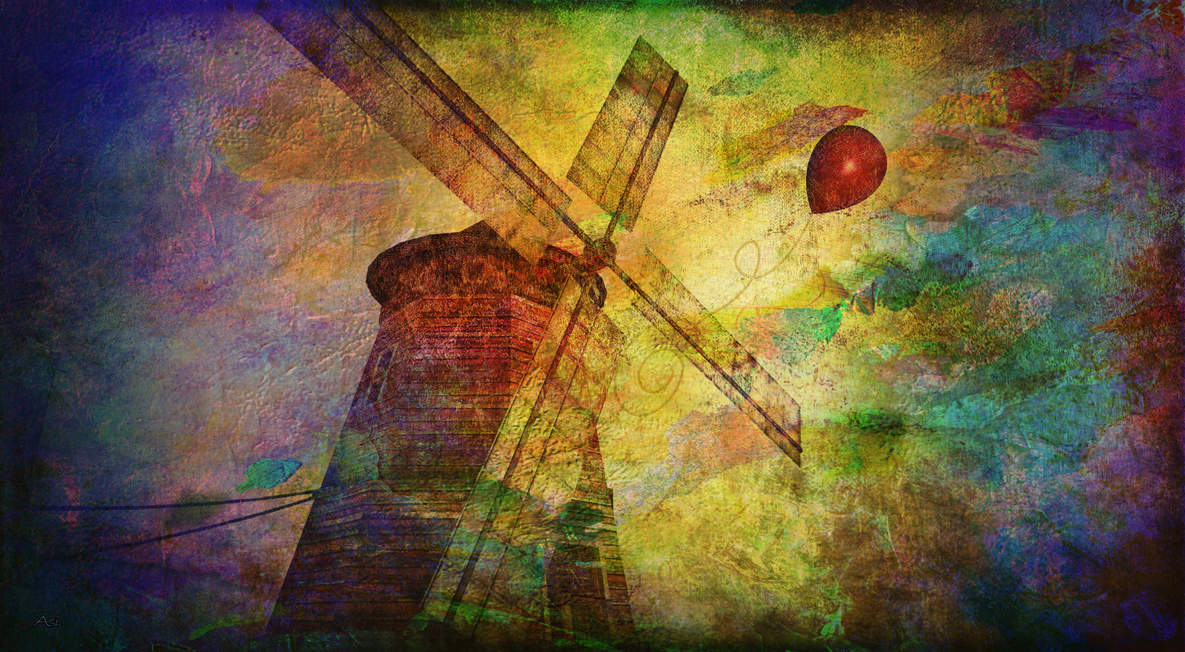 Masaüstü Yel Değirmeni Fotoğraf Hilesi Boyama Moulin Renkli