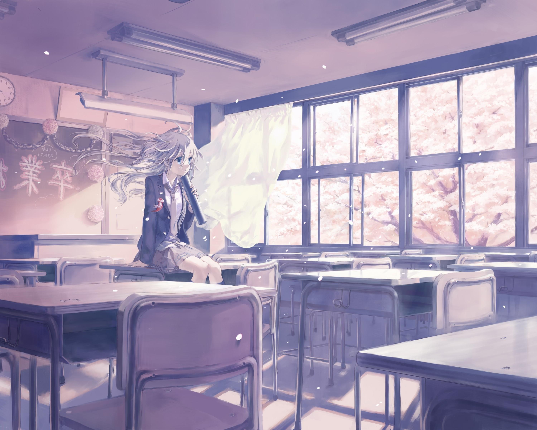 Wallpaper anime girls room school uniform classroom restaurant