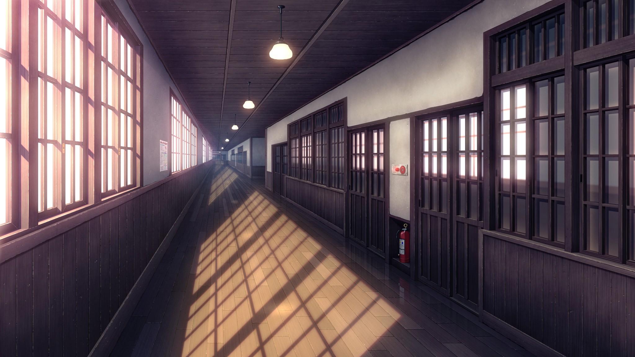 Window Architecture Anime Building Hallway Symmetry School Library Door Interior Design Transport Hall Public