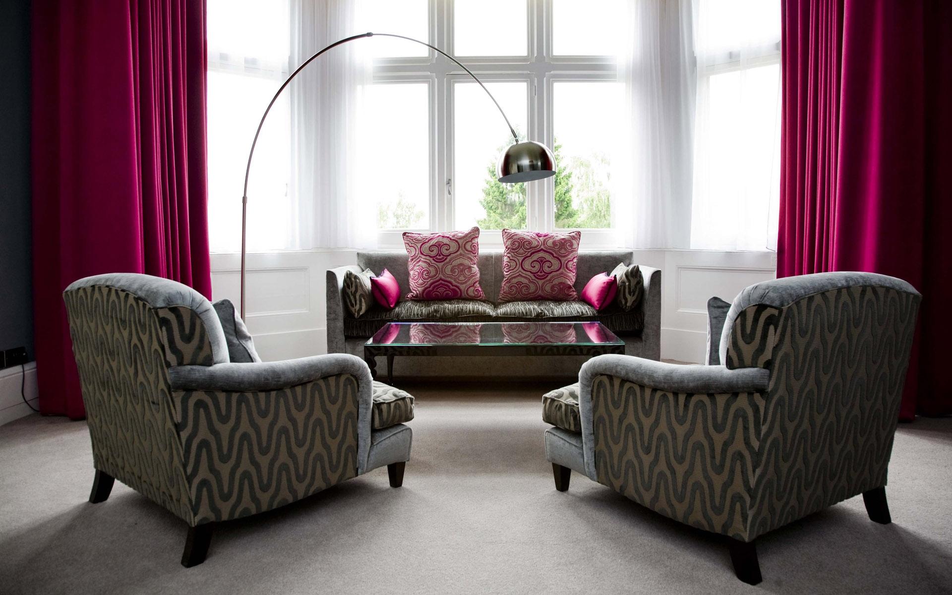 Baggrunde : vindue, værelse, sofa, stol, Indretning, persienner ...