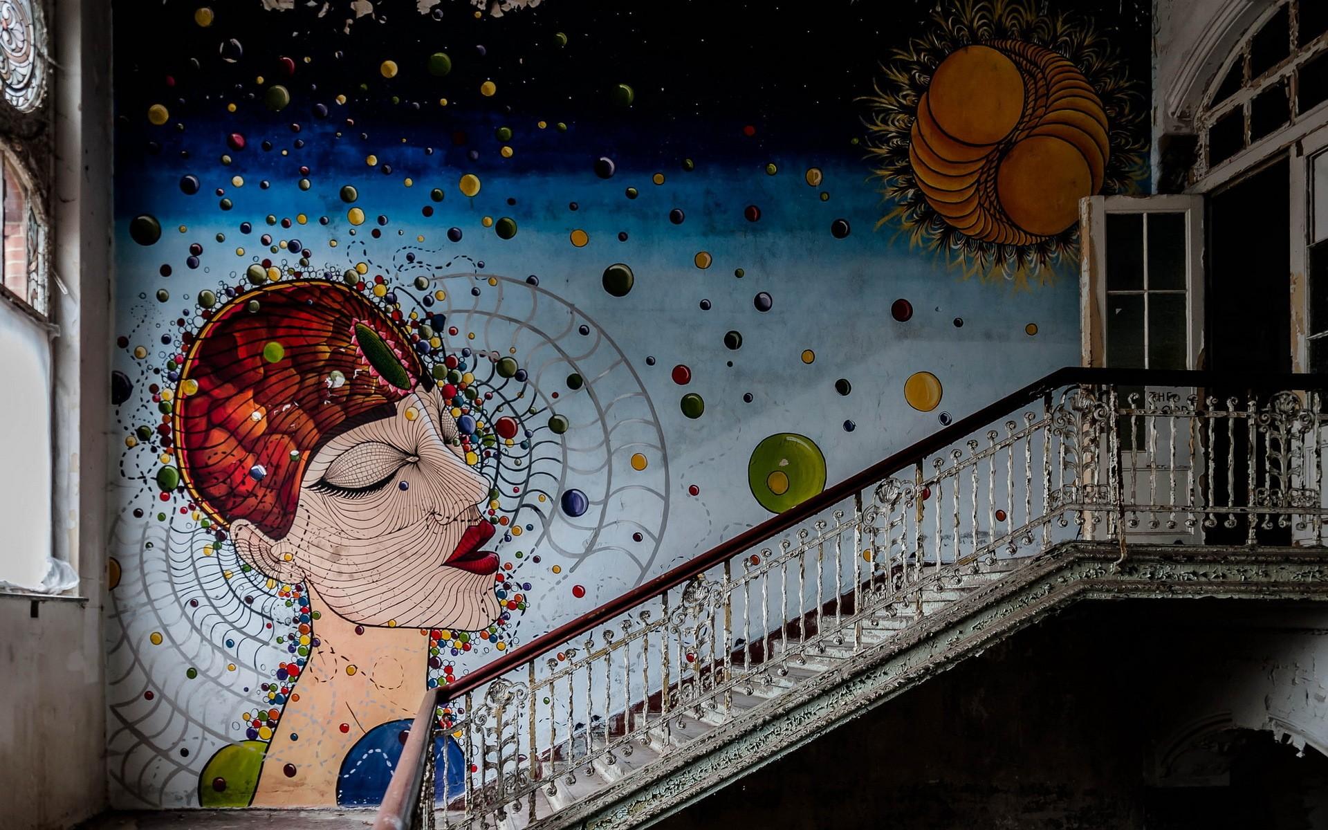 Papel De Parede Janela Quarto Parede Grafite Escadas Mural  ~ Papel De Parede Grafite Para Quarto