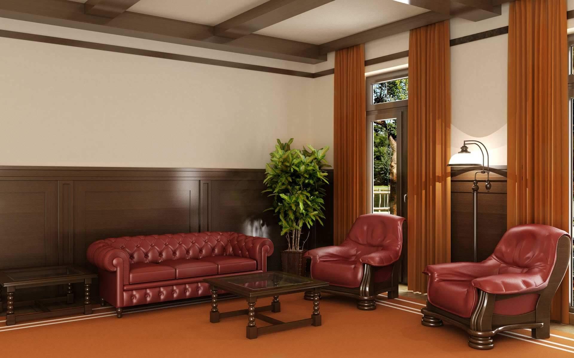 Wallpaper Kamar Dinding Kulit Desain Interior Lobi