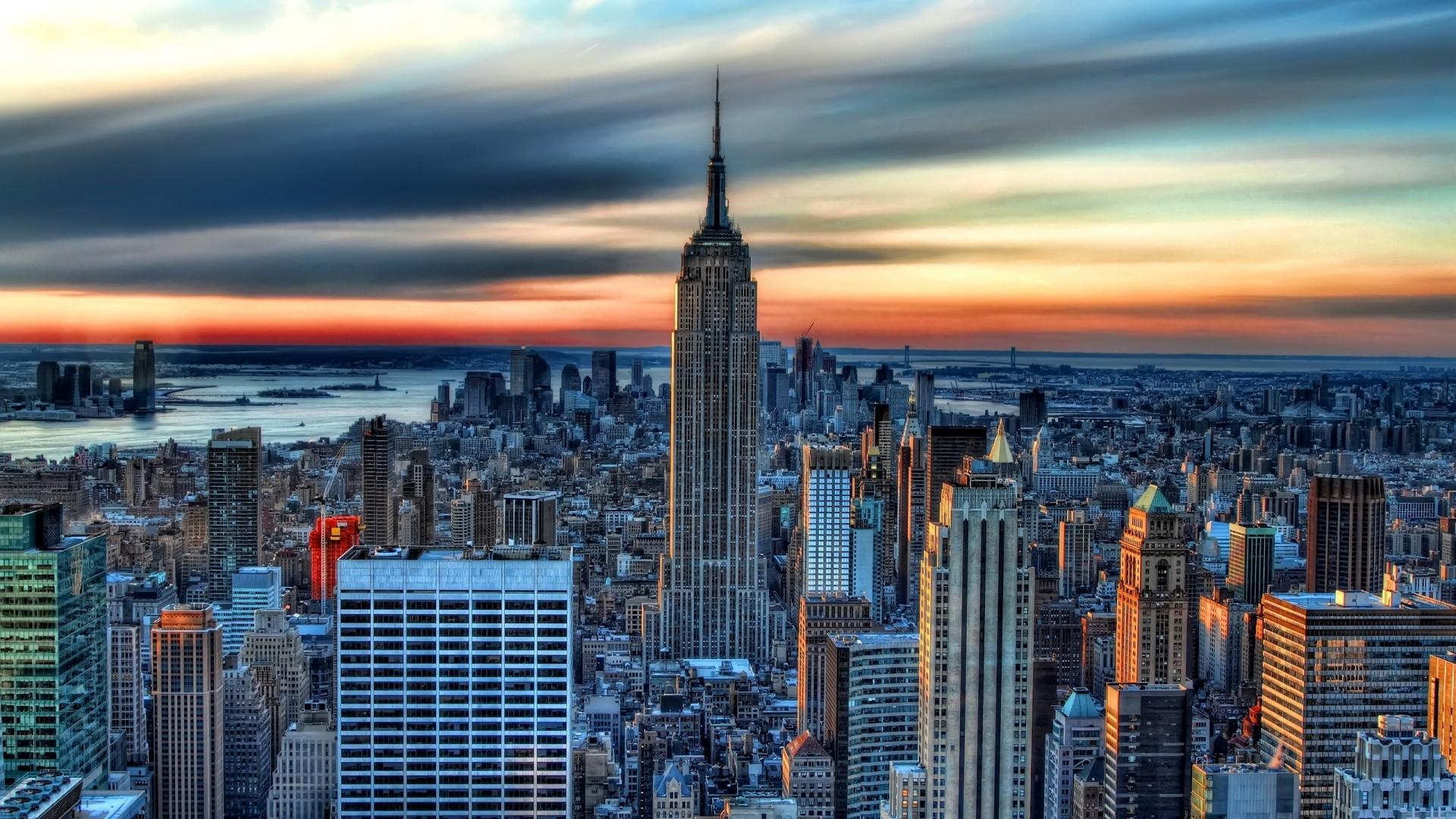 Обои buildings, downtown, skyscrapers, Sunset, сша, new york city. Города foto 11