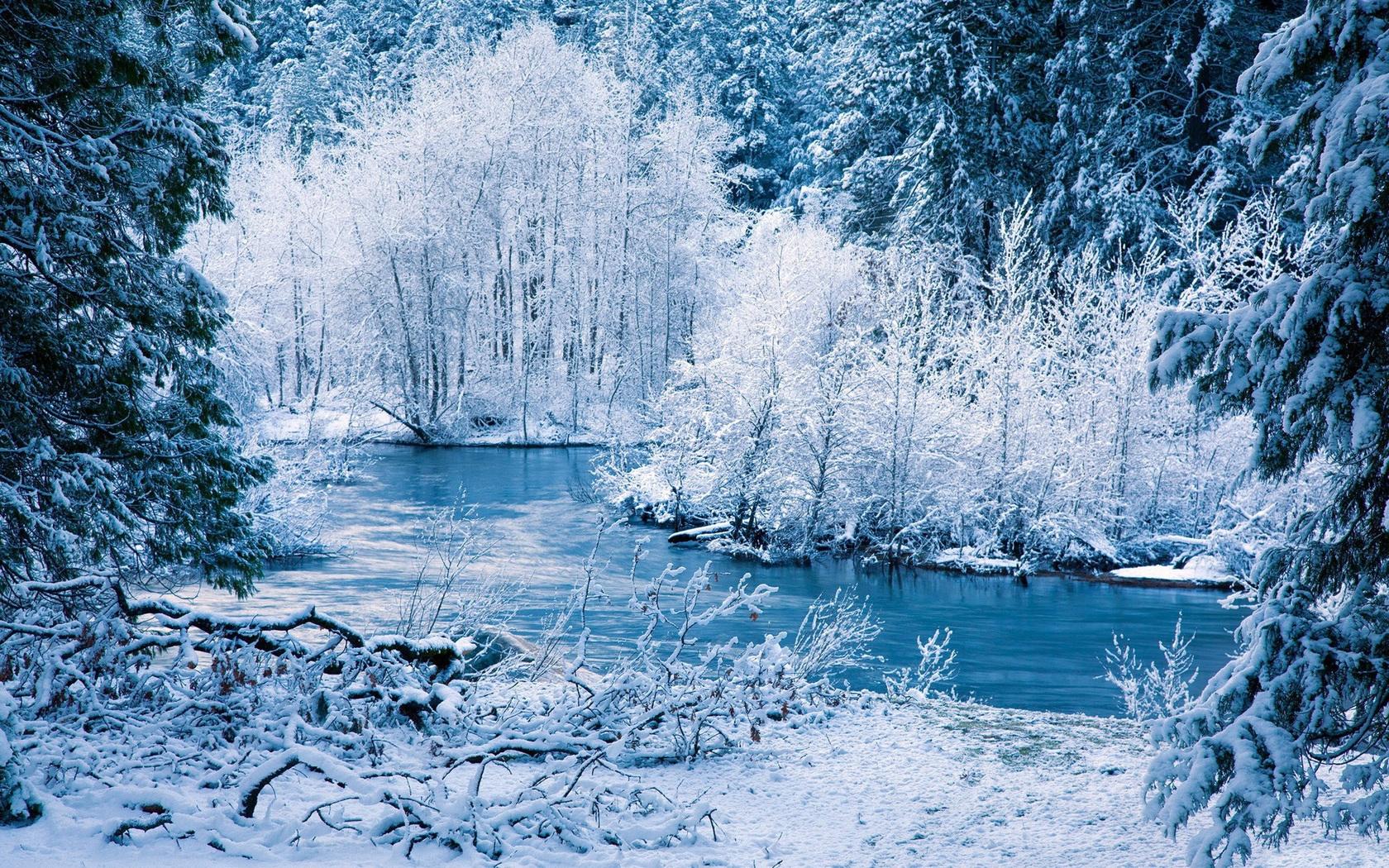 Sfondi Inverno Fiume La Neve Alberi Paesaggio 1680x1050