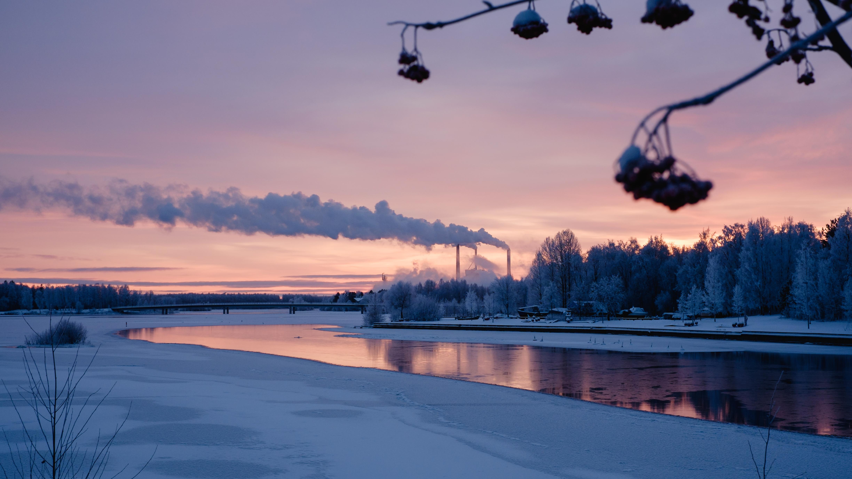 デスクトップ壁紙 : 冬, 日没, ...
