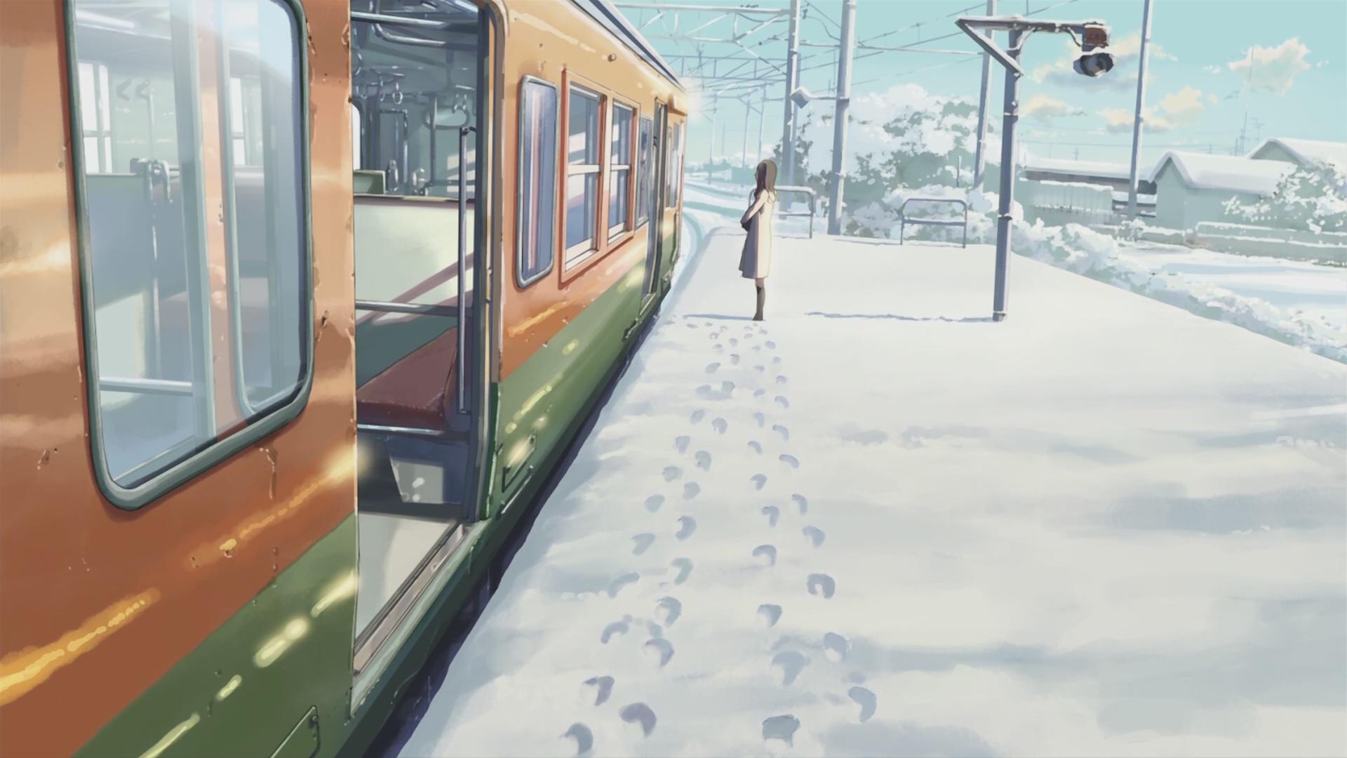 Winter Women Train Train Station Anime 5 Centimeters Per Second Snow Makoto Shinkai Footprints Power Lines