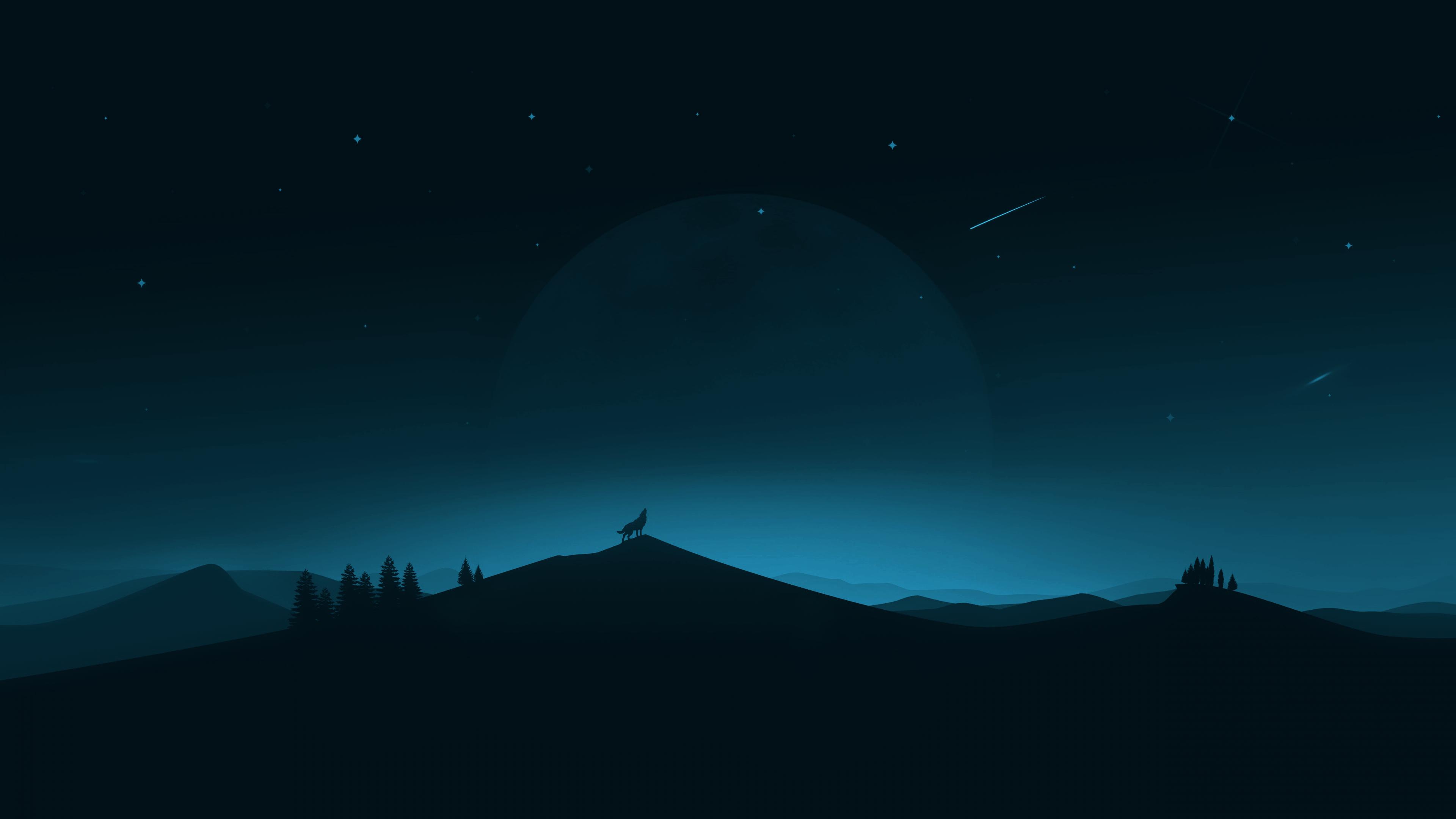 Wallpaper Wolf Digital Art Dark Calm Blue Night Sky